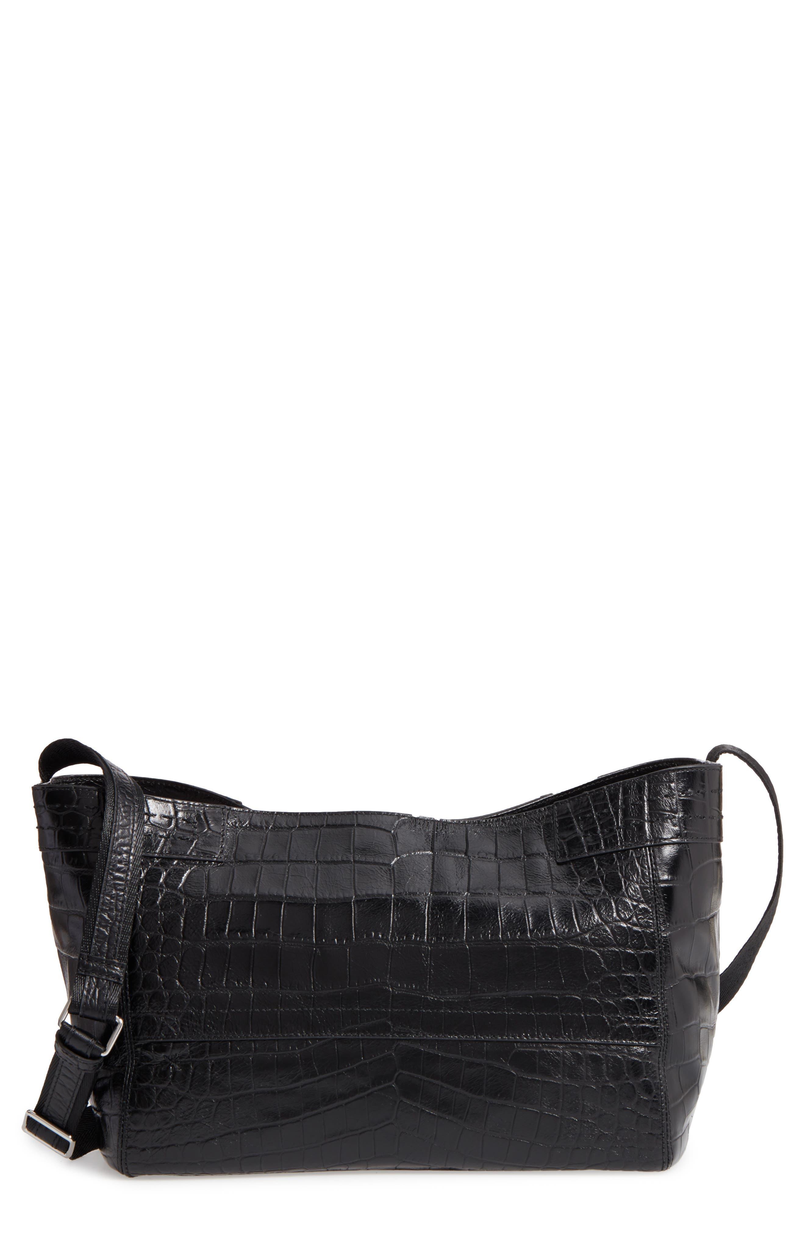 Mini Keely Newspaper Croc Embossed Leather Shoulder/Crossbody Bag,                         Main,                         color, 001