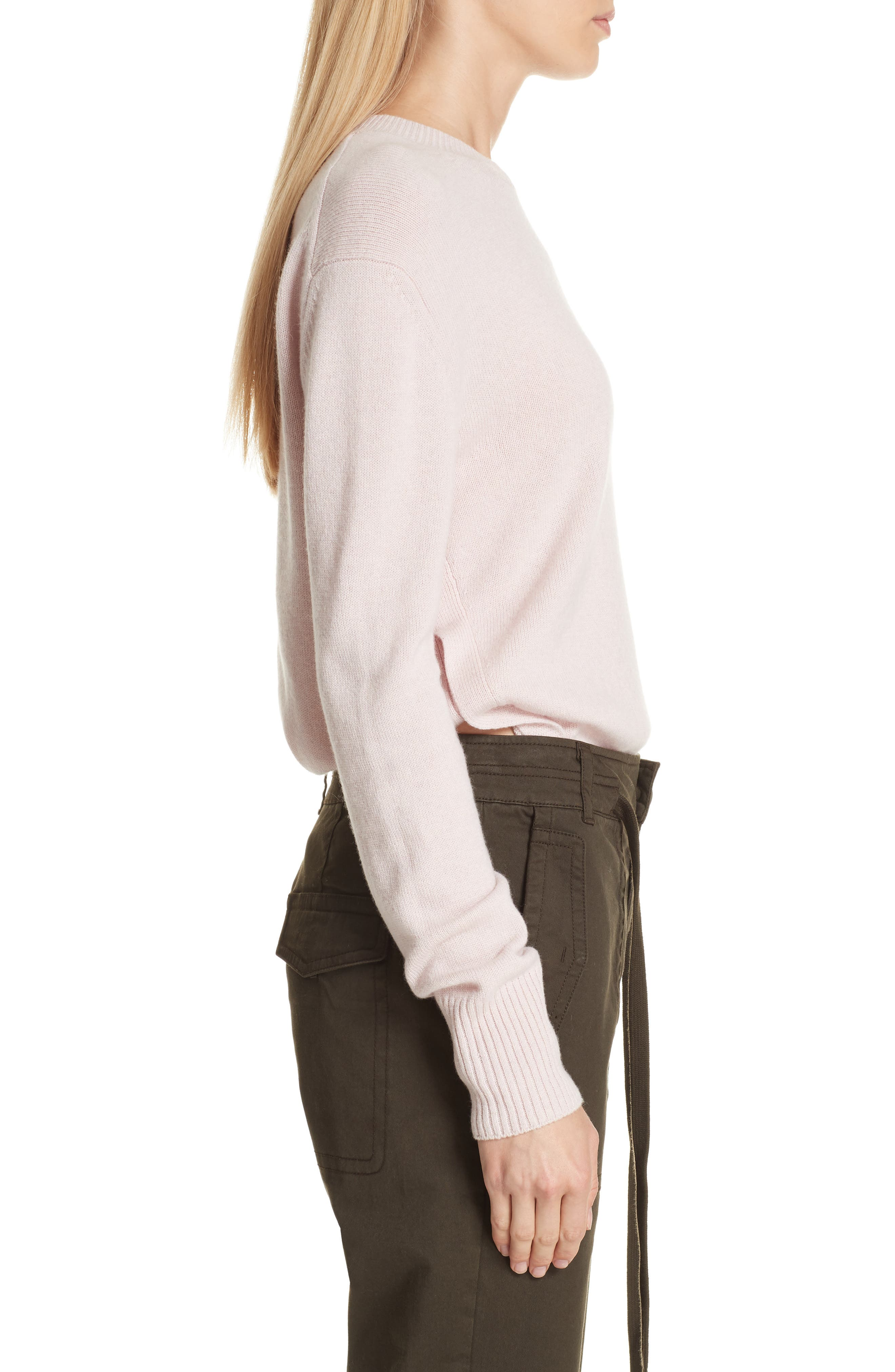 Asymmetrical Cashmere Sweater,                             Alternate thumbnail 3, color,                             CHERRY BLOSSOM