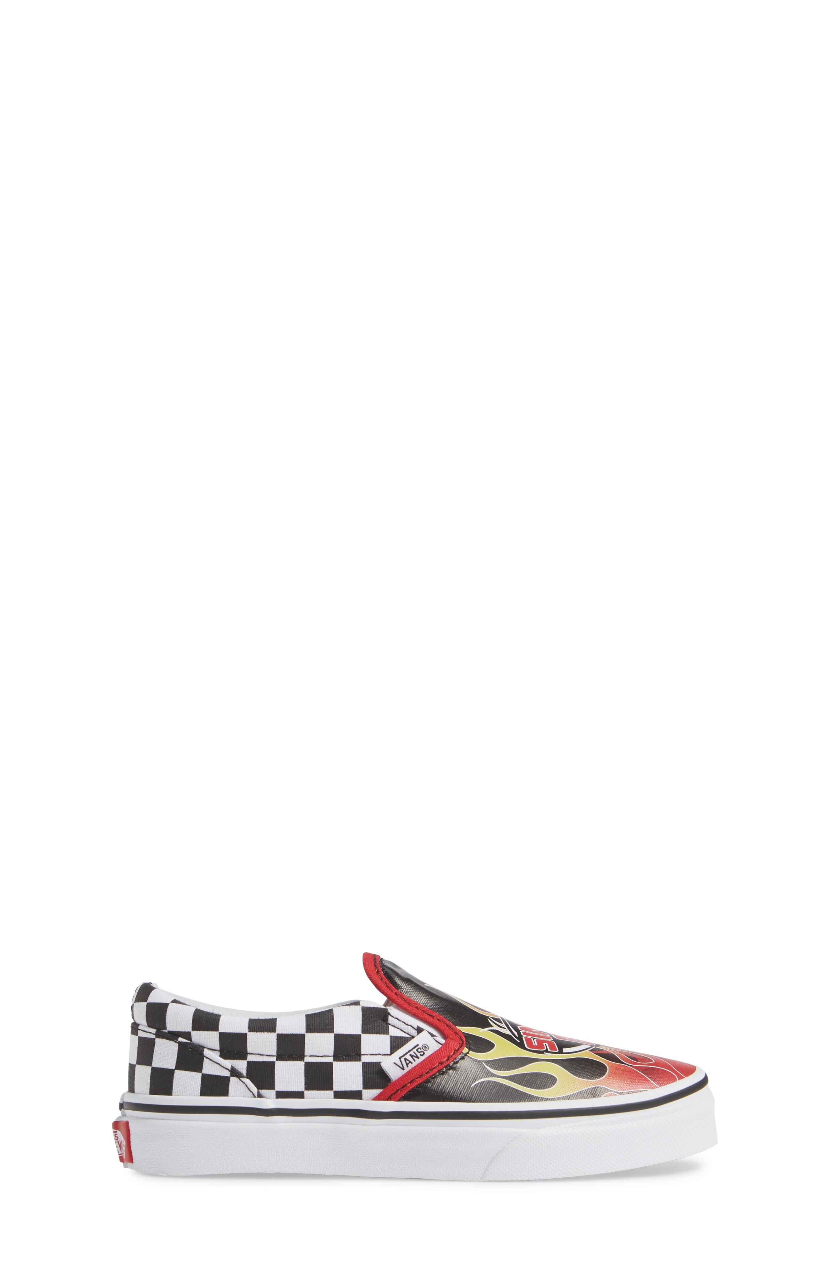 VANS,                             'Classic - Checker' Slip-On,                             Alternate thumbnail 3, color,                             BLACK/ RACING RED/ TRUE WHITE
