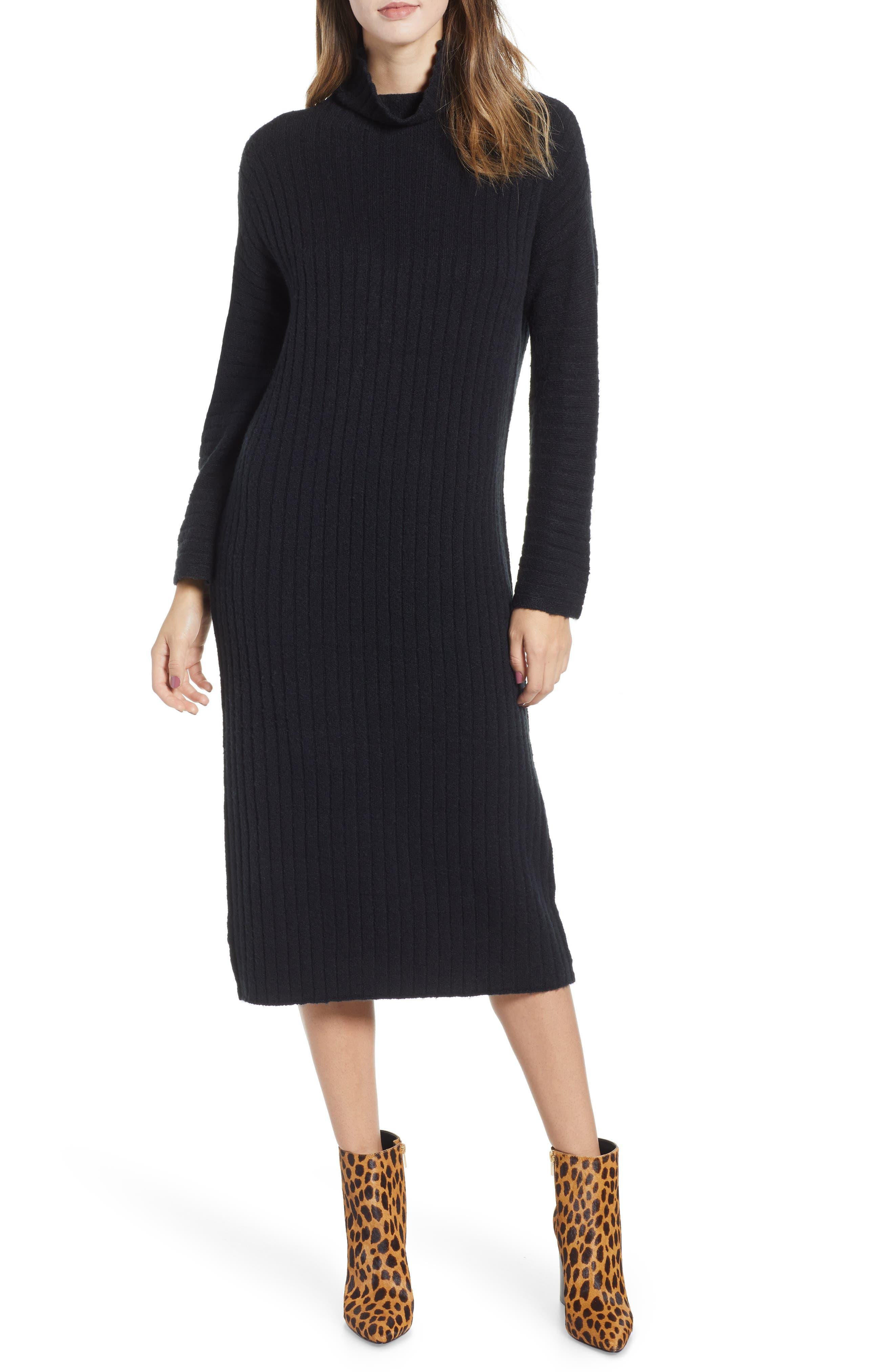 Rib Midi Sweater Dress,                             Main thumbnail 1, color,                             BLACK