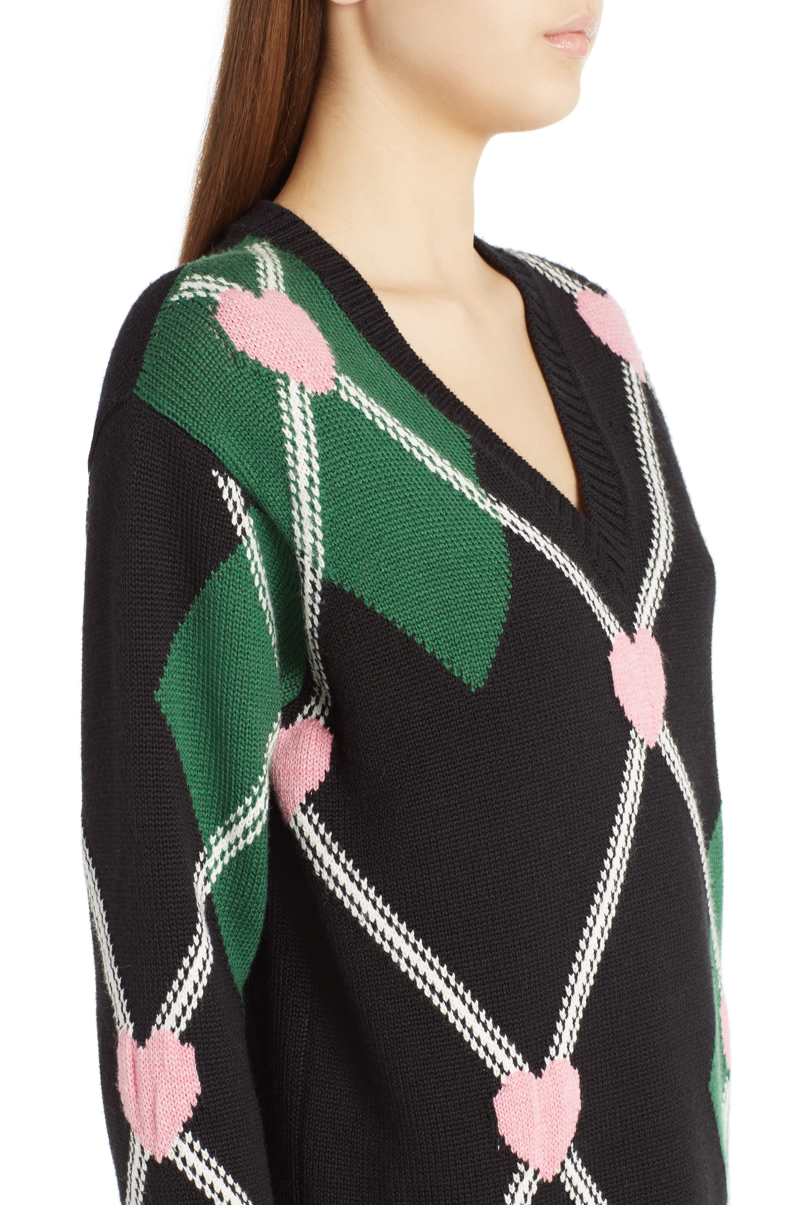 Argyle Heart Sweater,                             Alternate thumbnail 4, color,                             001