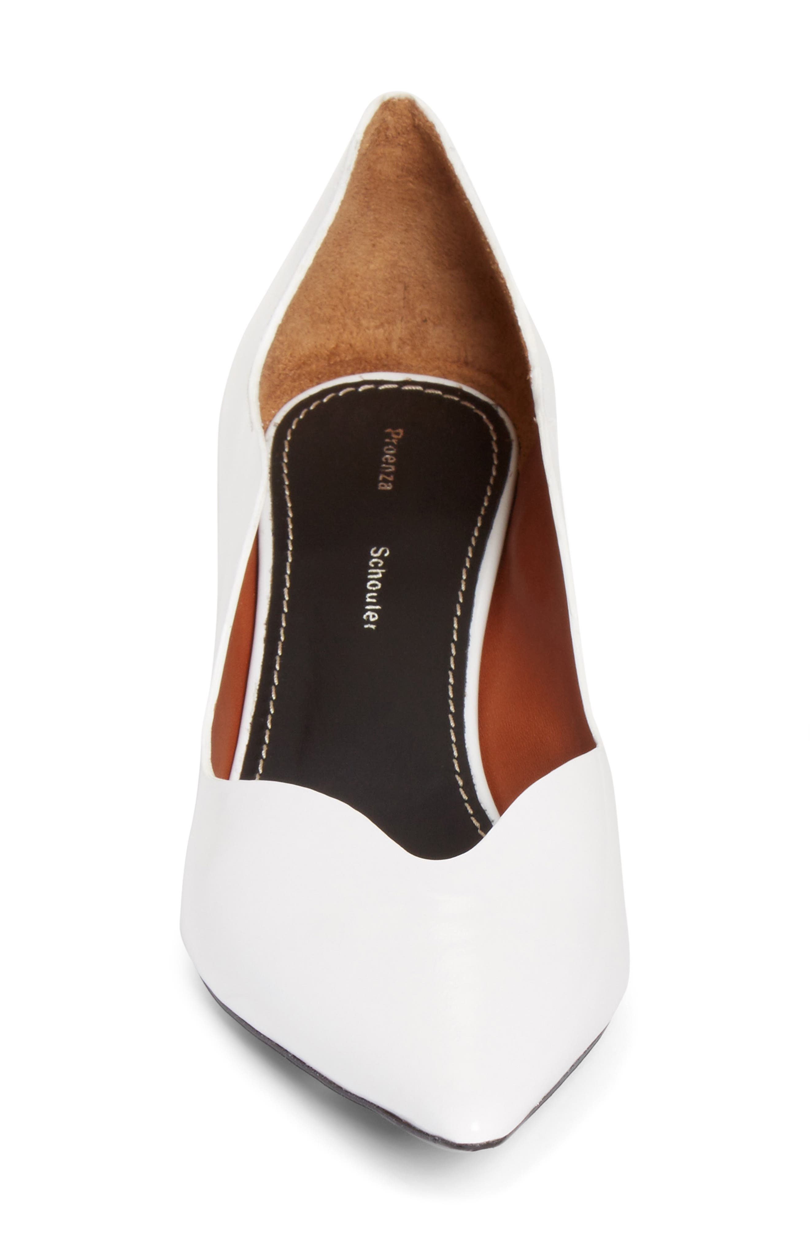 Wave Pointy Toe Pump,                             Alternate thumbnail 4, color,                             WHITE