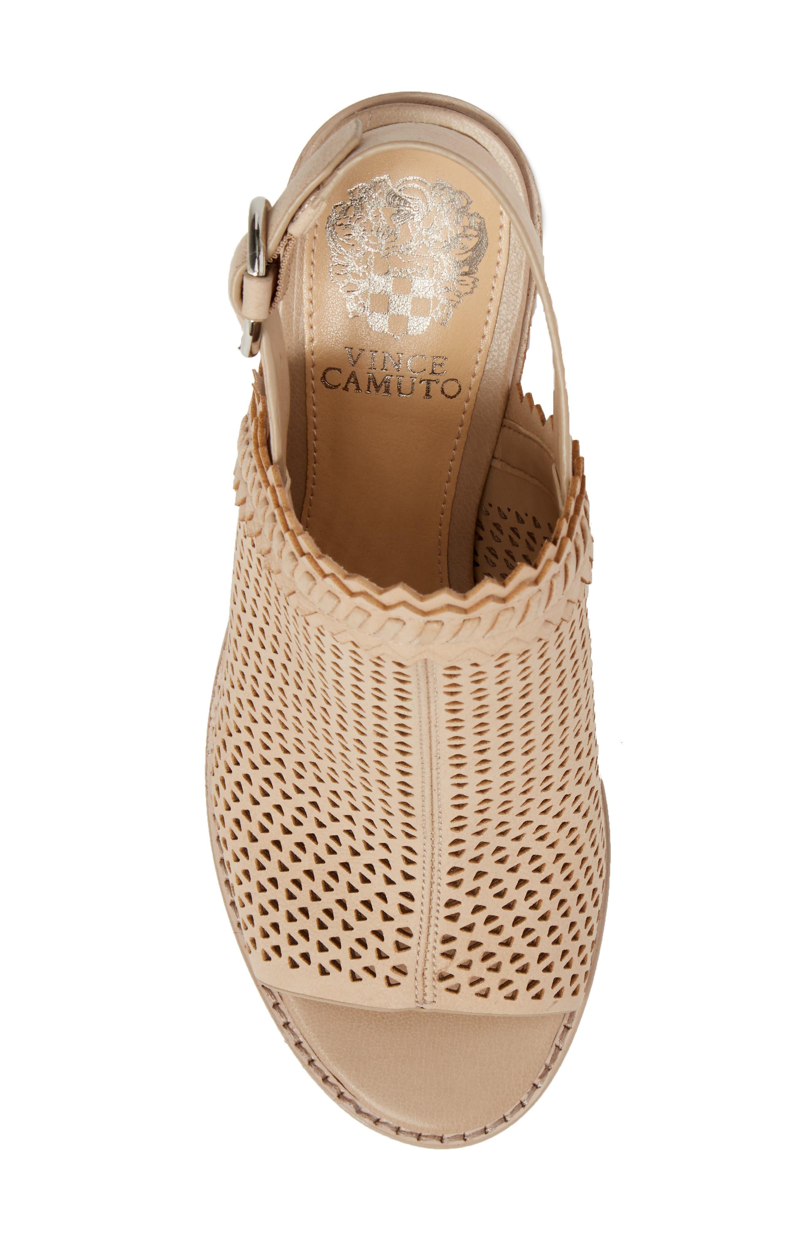Tricinda Block Heel Sandal,                             Alternate thumbnail 5, color,                             SHELL LEATHER
