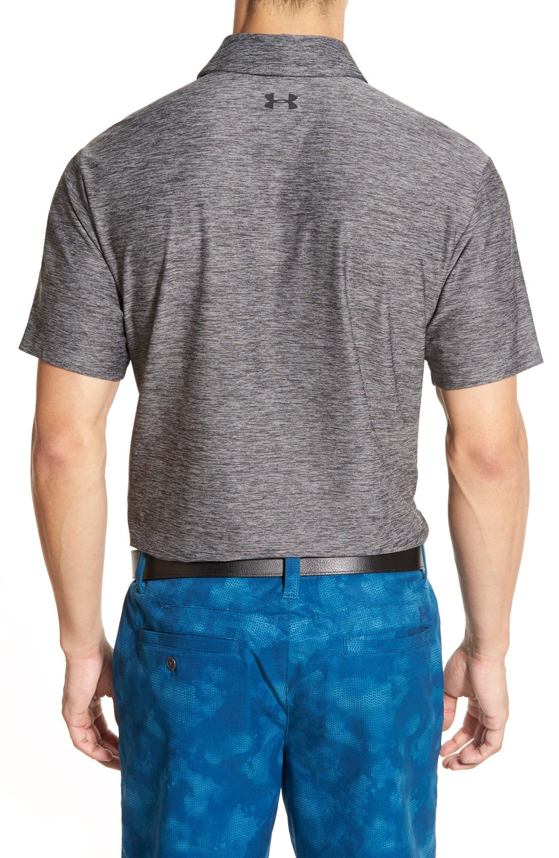 'Playoff' Loose Fit Short Sleeve Polo,                             Alternate thumbnail 5, color,                             CARBON HEATHER