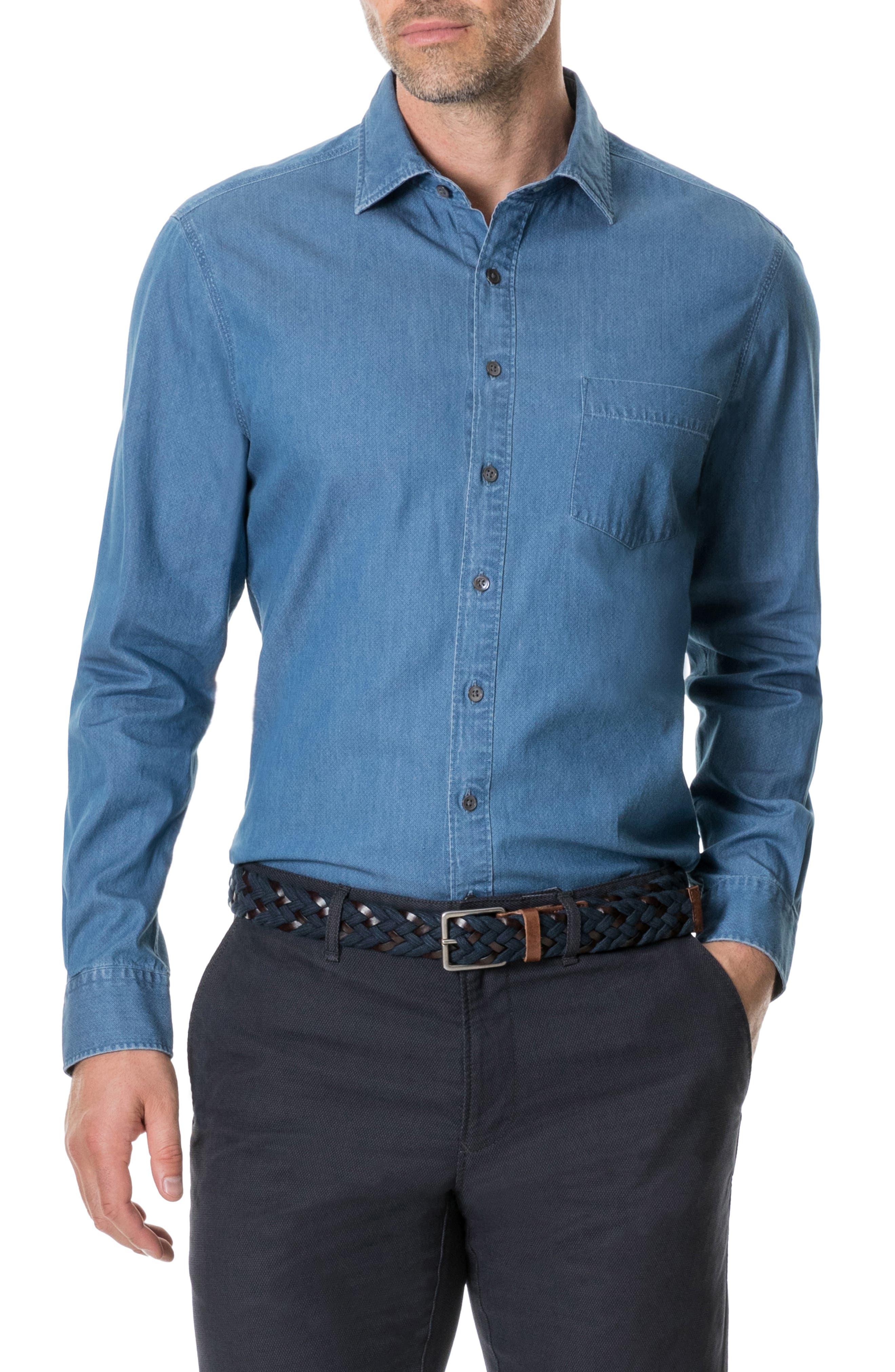 Tinline River Print Sport Shirt,                         Main,                         color, DENIM