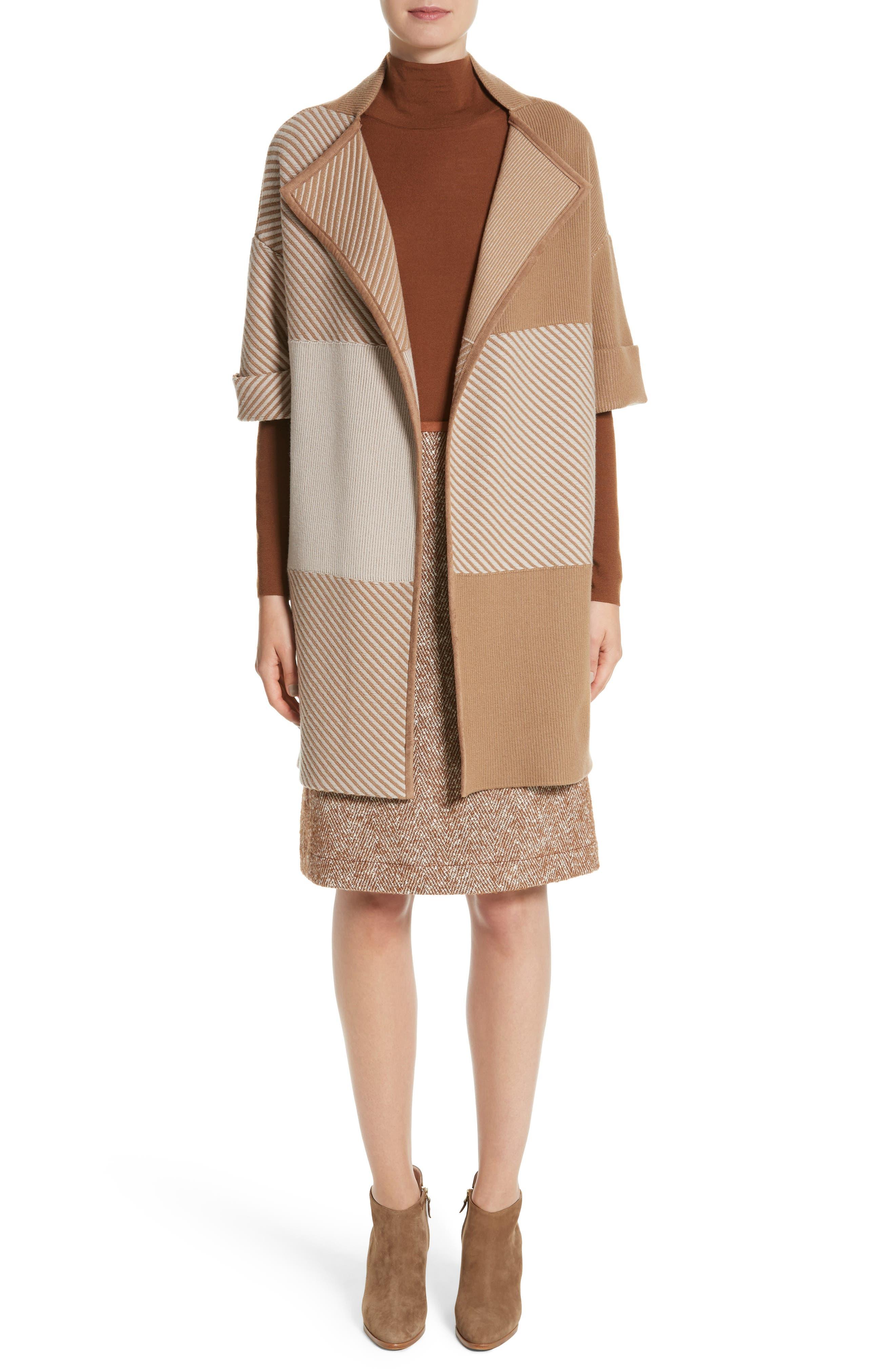 Flannel Bicolor Jacquard Coat,                             Alternate thumbnail 7, color,                             200