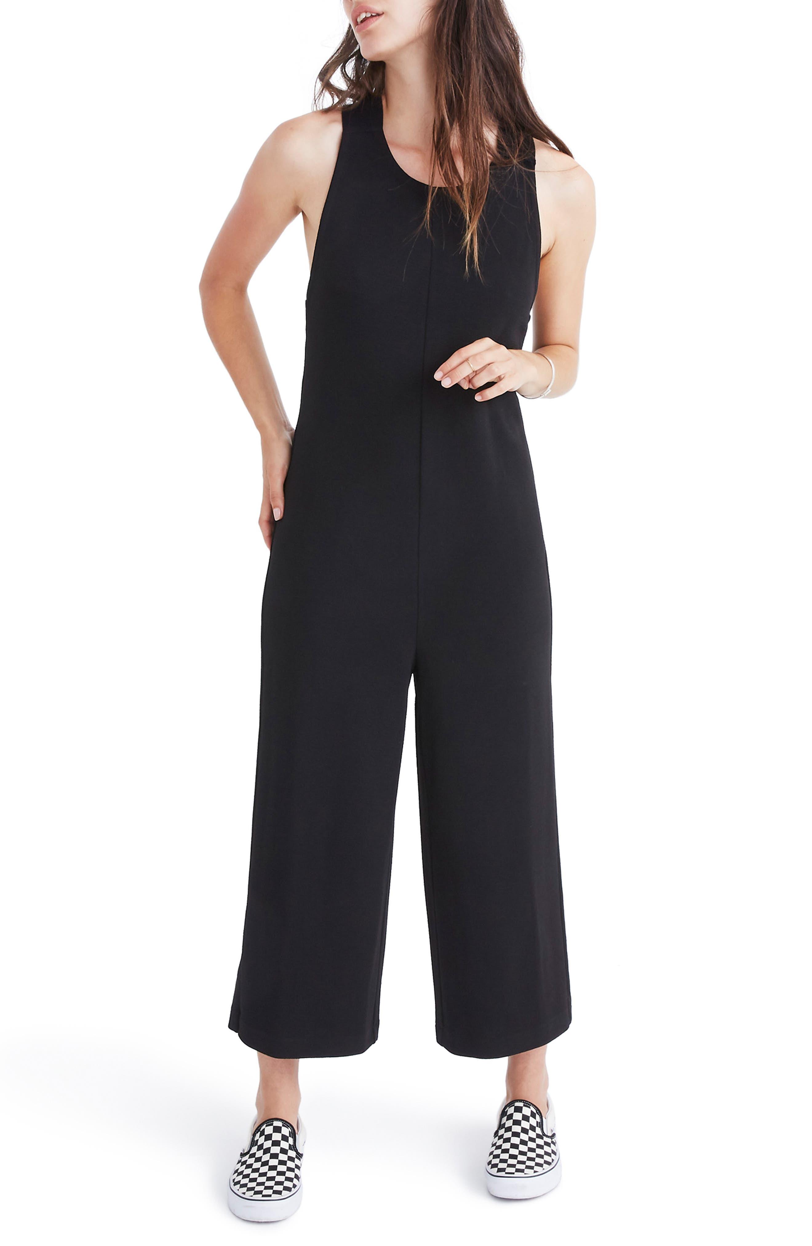 Texture & Thread Tie Back Jumpsuit,                         Main,                         color, 001