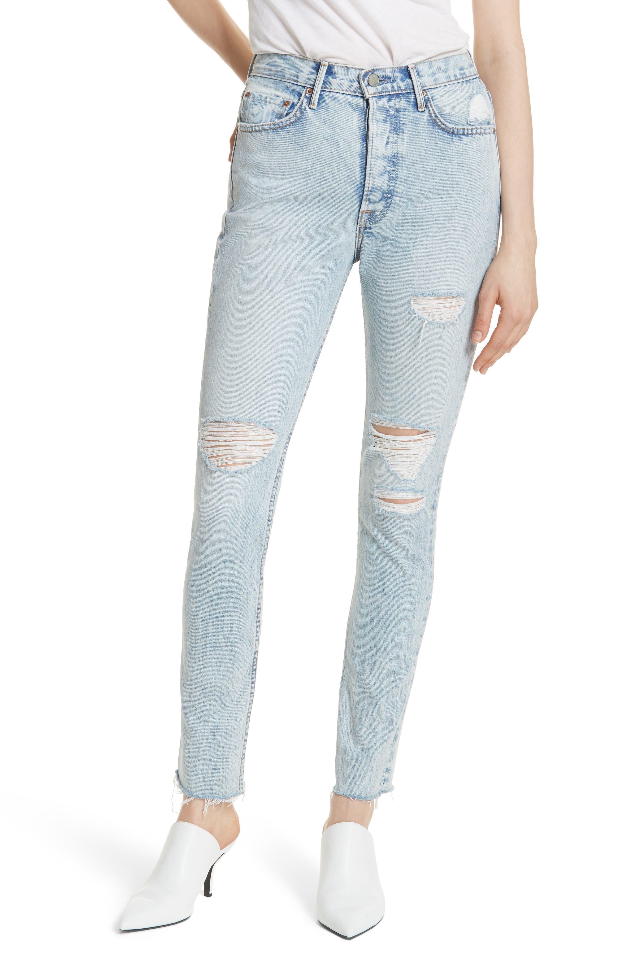 Karolina Ripped Skinny Jeans,                             Main thumbnail 1, color,                             487