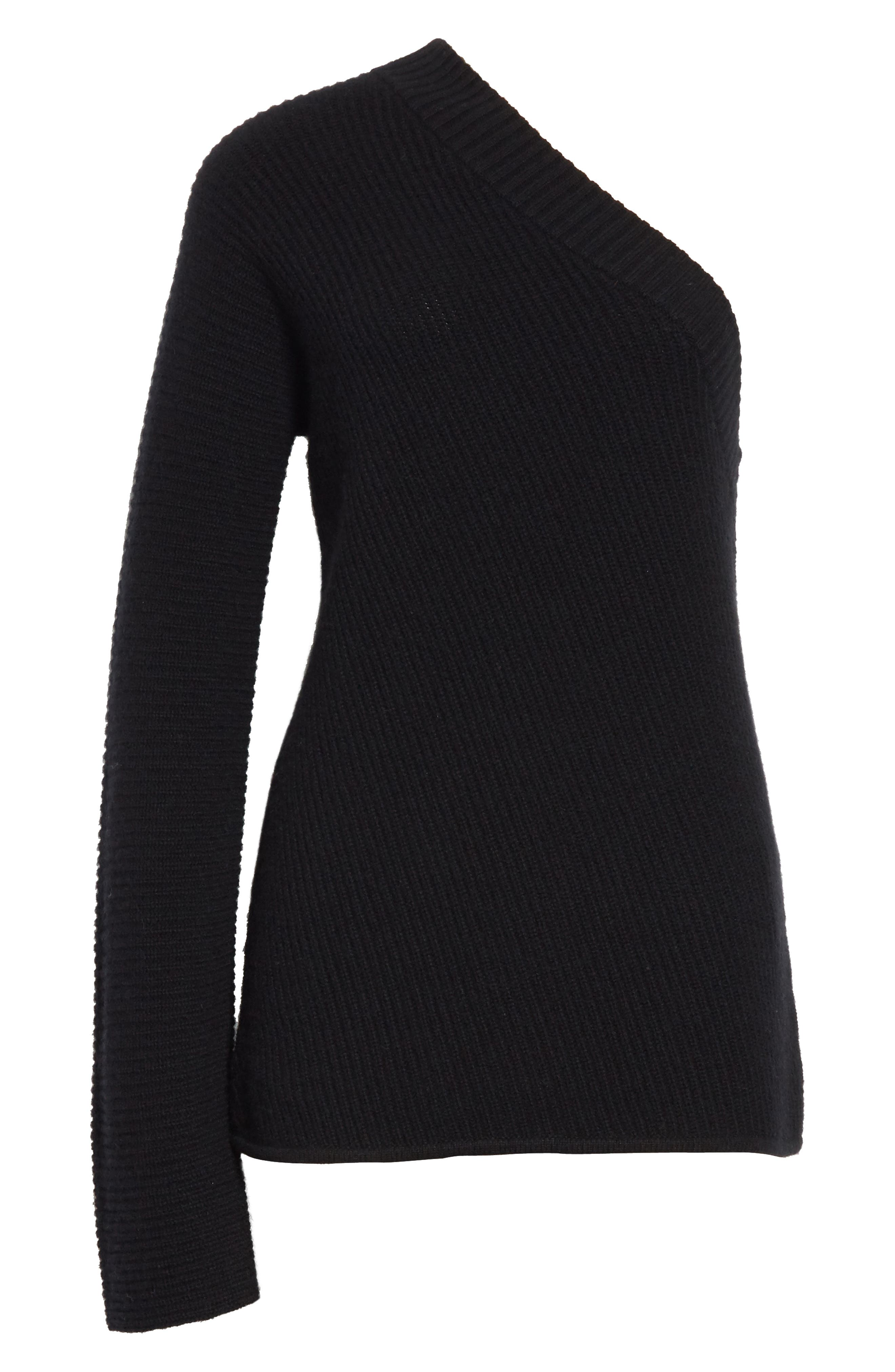 Tracey One Shoulder Wool & Cashmere Sweater,                             Alternate thumbnail 6, color,                             001