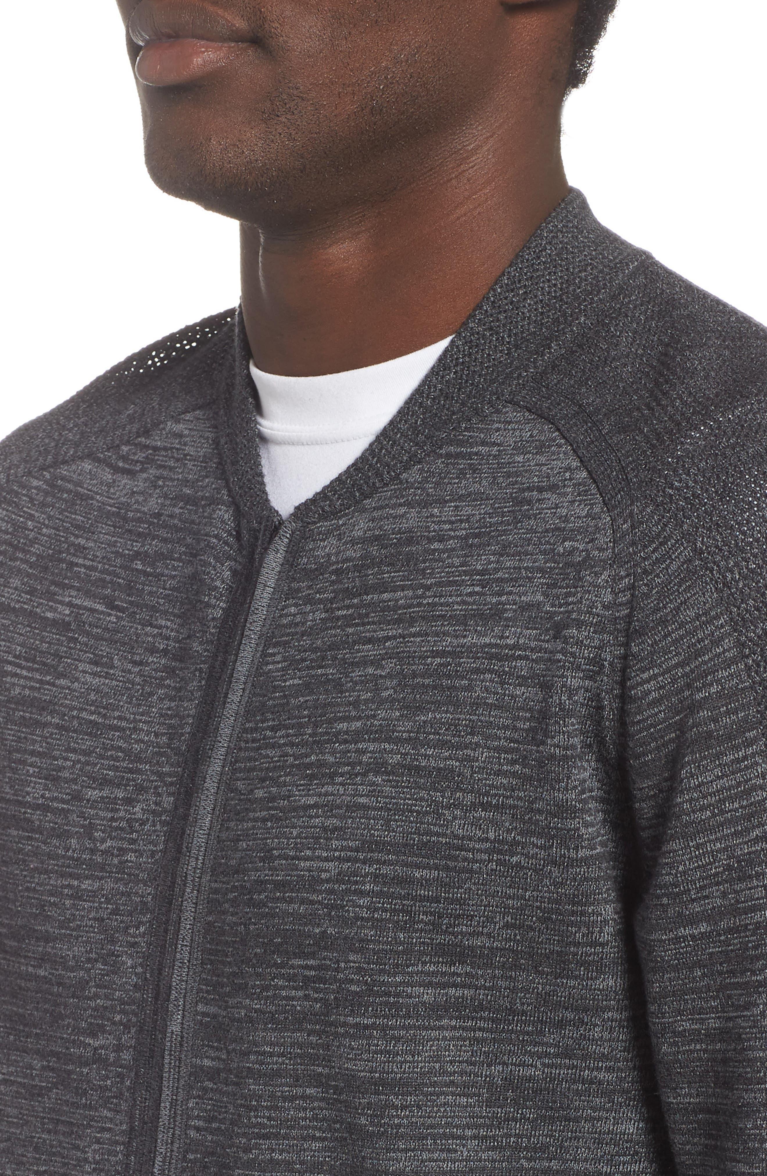 Tech Sweater Baseball Jacket,                             Alternate thumbnail 4, color,                             BLACK OXIDE SPACEDYE