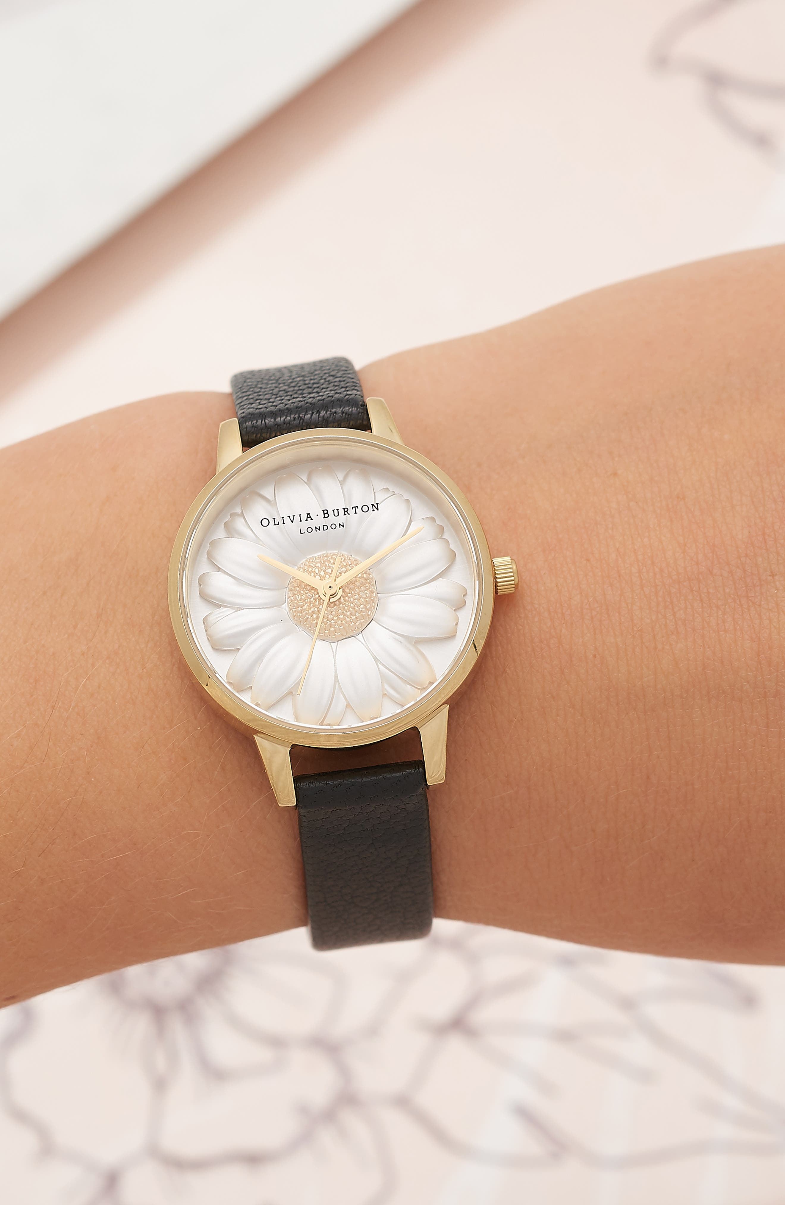 3D Daisy Leather Strap Watch, 30mm,                             Alternate thumbnail 2, color,                             BLACK/ GOLD
