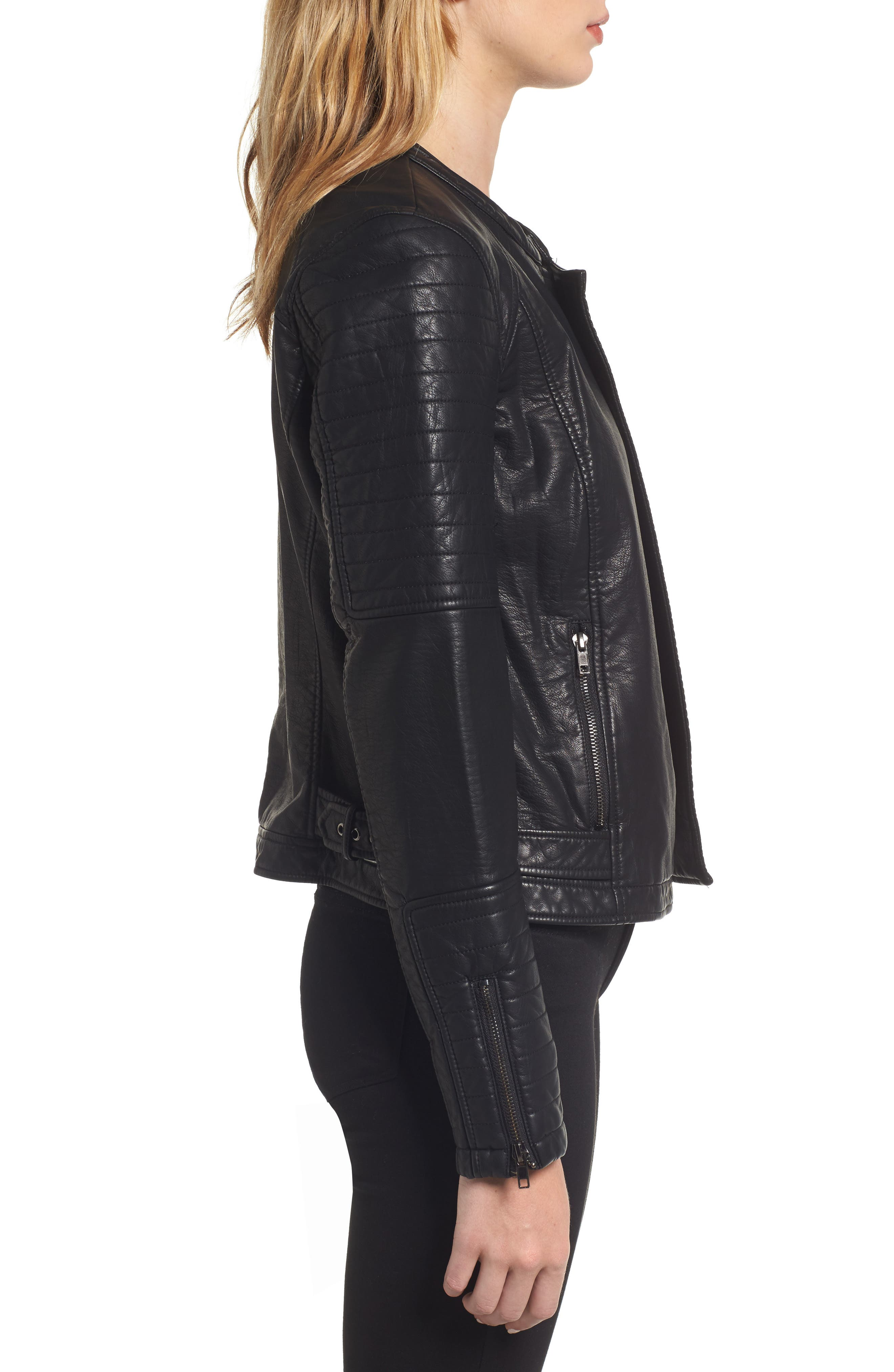 Ezmerelda Faux Leather Moto Jacket,                             Alternate thumbnail 3, color,                             001