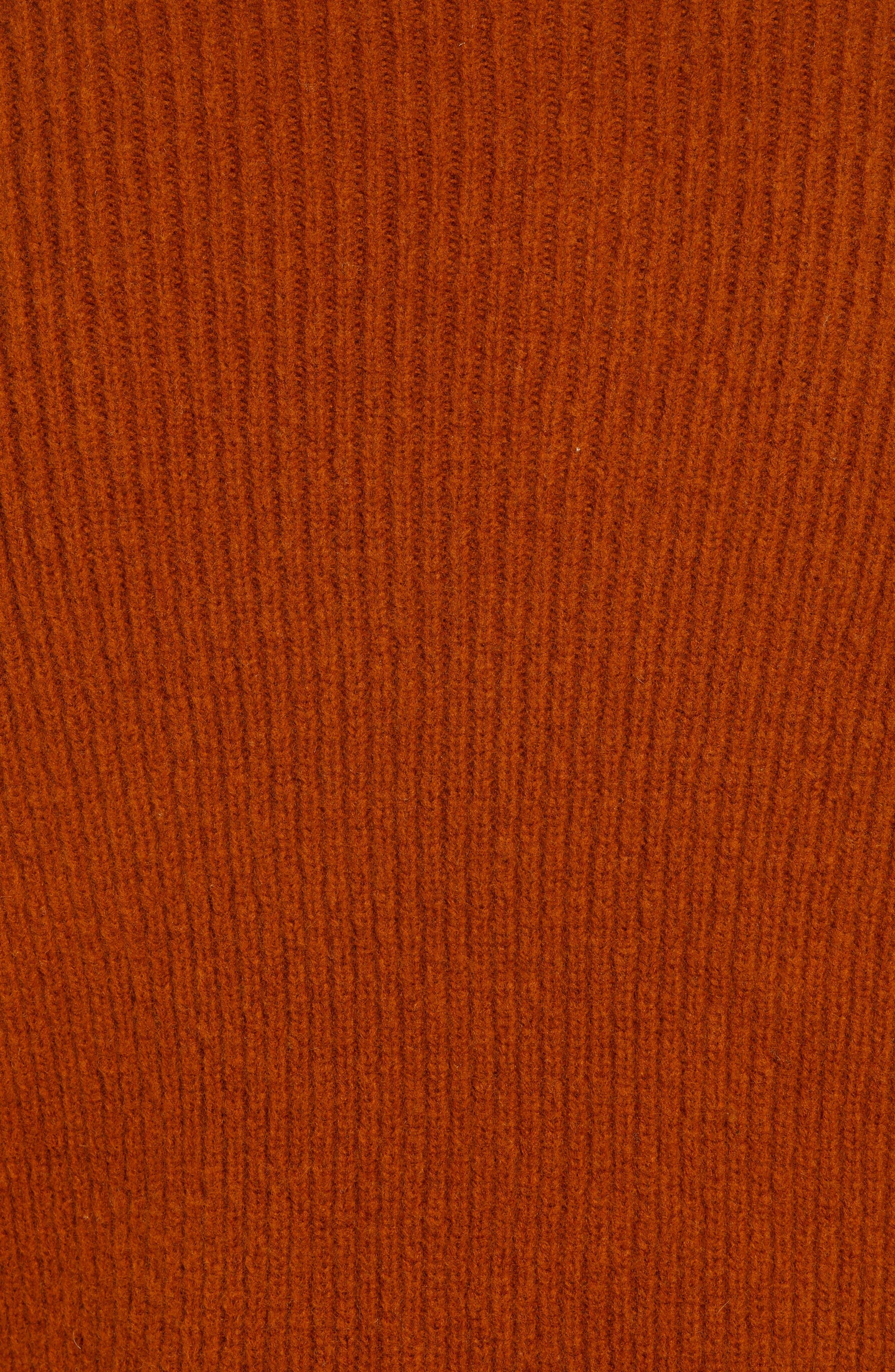 Wool Blend Turtleneck Sweater,                             Alternate thumbnail 5, color,                             RUSSET BROWN