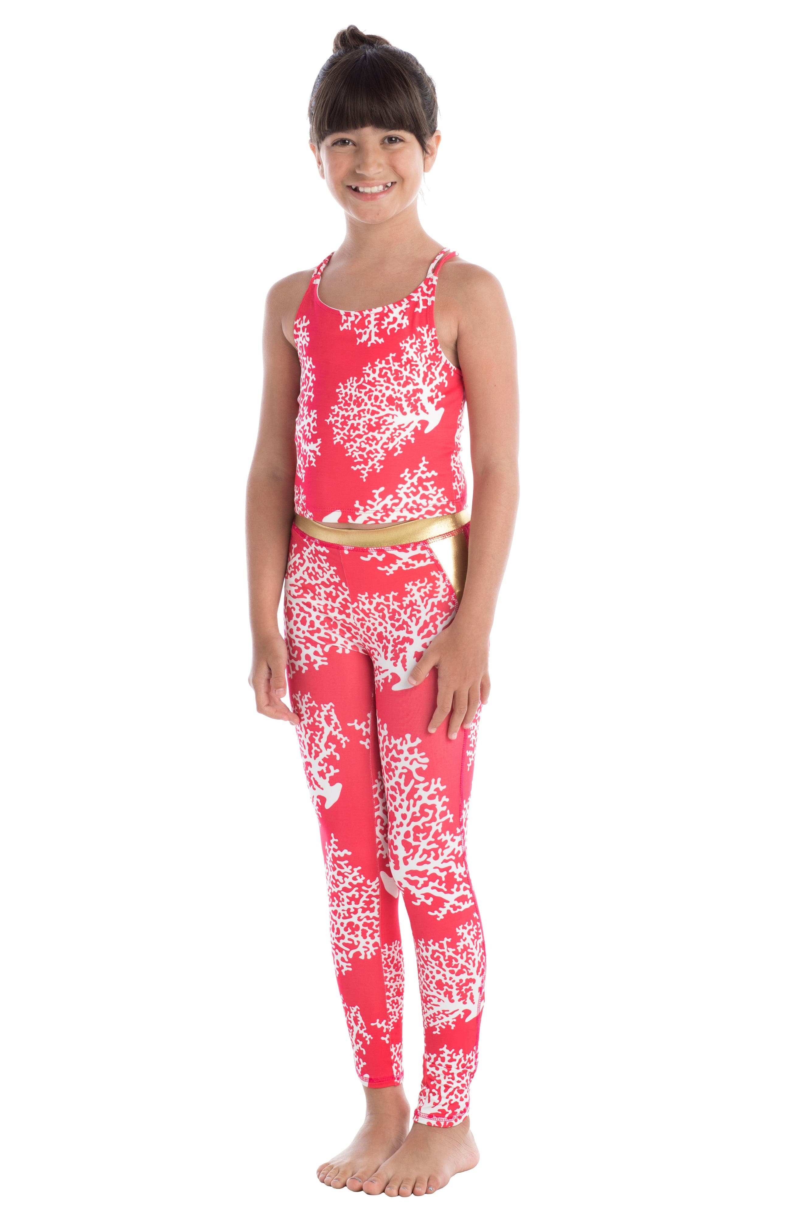 Coral Print Actiplay Leggings,                             Alternate thumbnail 2, color,                             600