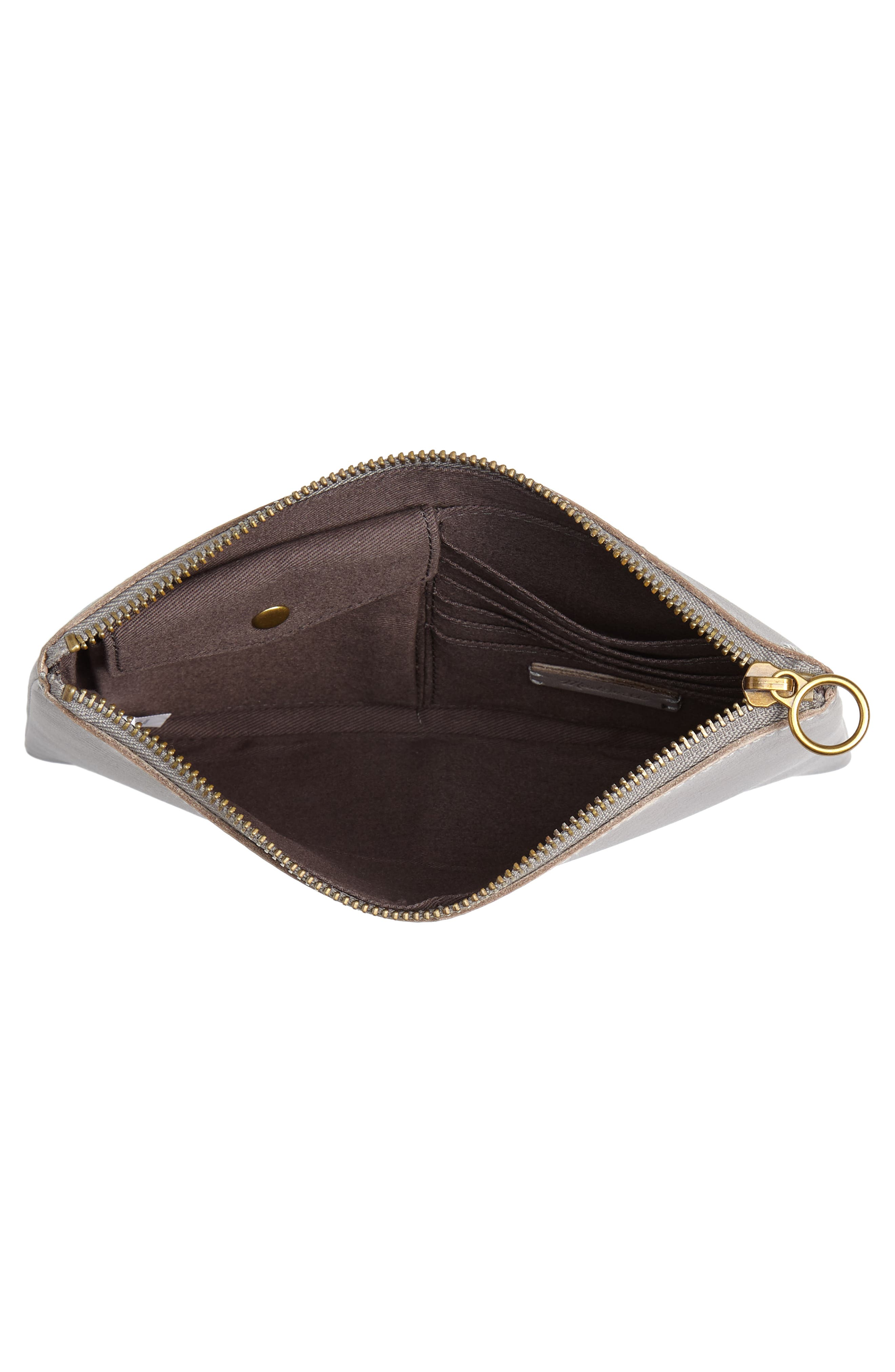 The Leather Pouch Clutch,                             Alternate thumbnail 4, color,                             STONEWALL