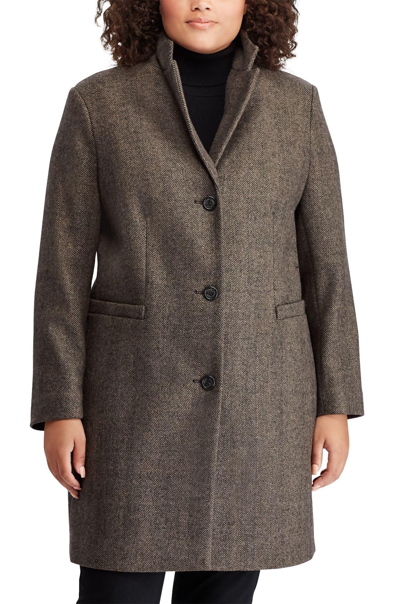 LAUREN RALPH LAUREN,                             Herringbone Wool Blend Reefer Coat,                             Main thumbnail 1, color,                             008