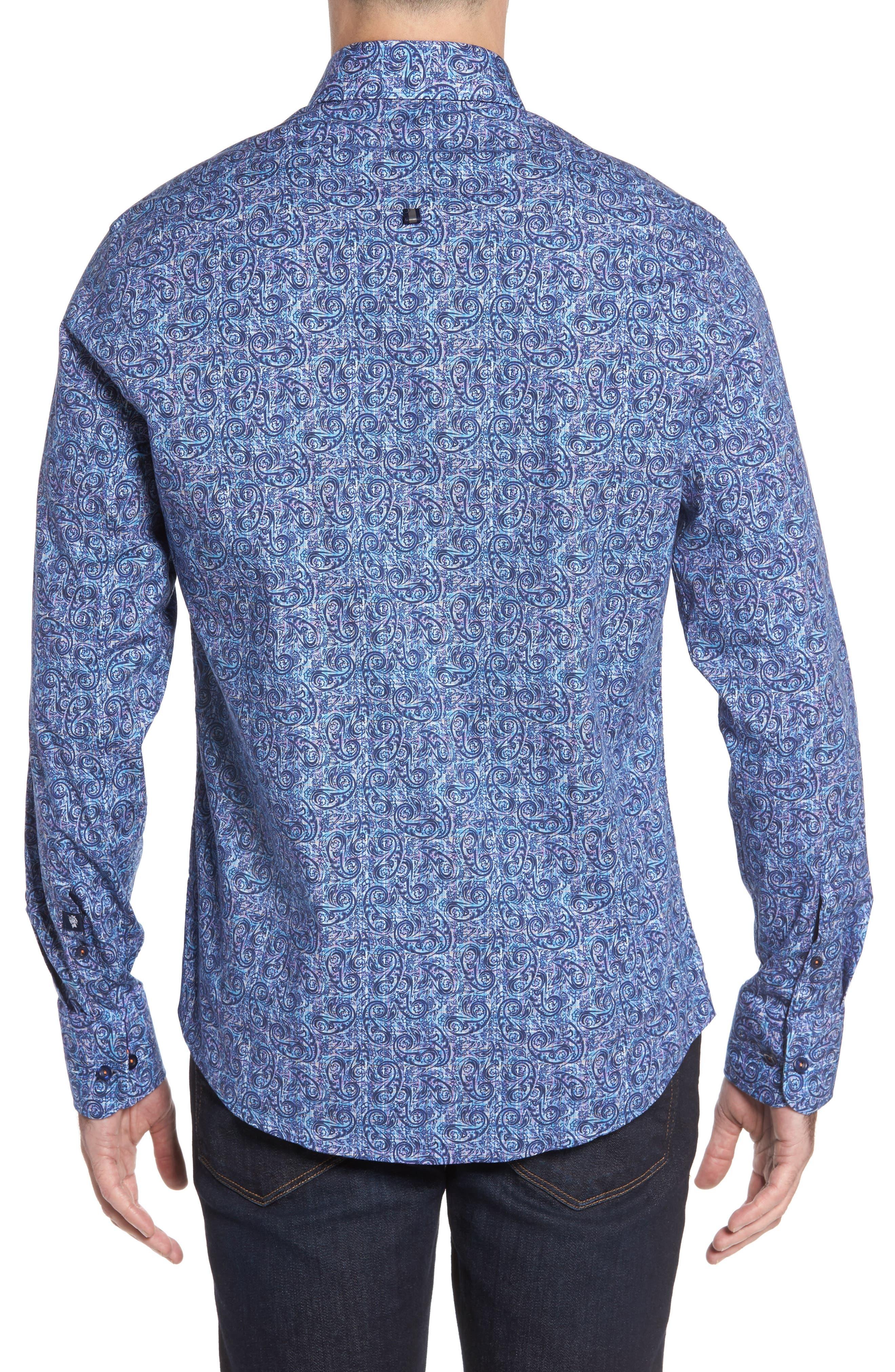 Slim Fit Paisley Plaid FX Sport Shirt,                             Alternate thumbnail 2, color,                             410