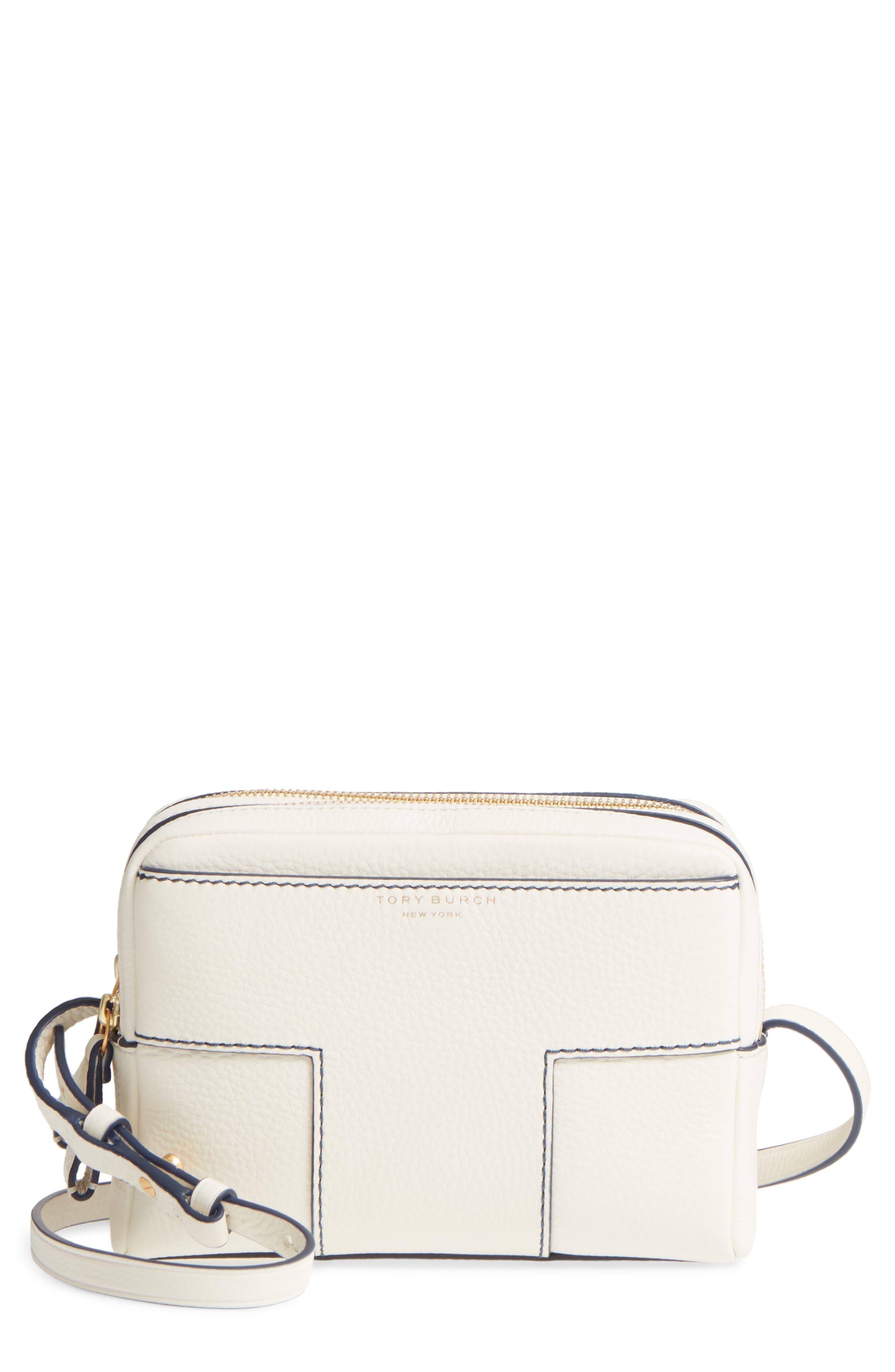 Block-T Double Zip Leather Crossbody Bag,                             Main thumbnail 1, color,                             100
