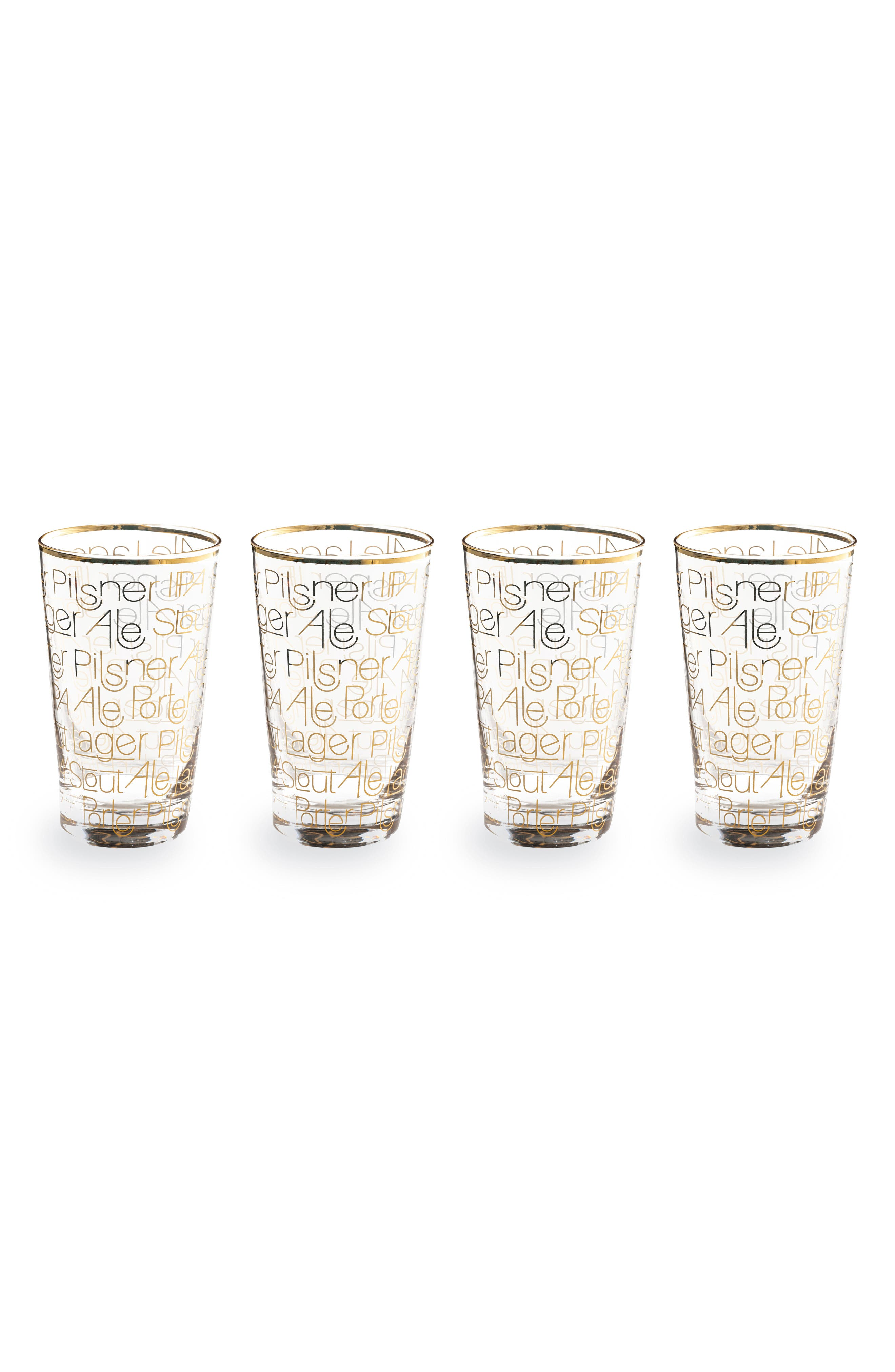 Set of 4 Pint Glasses,                         Main,                         color, CLEAR