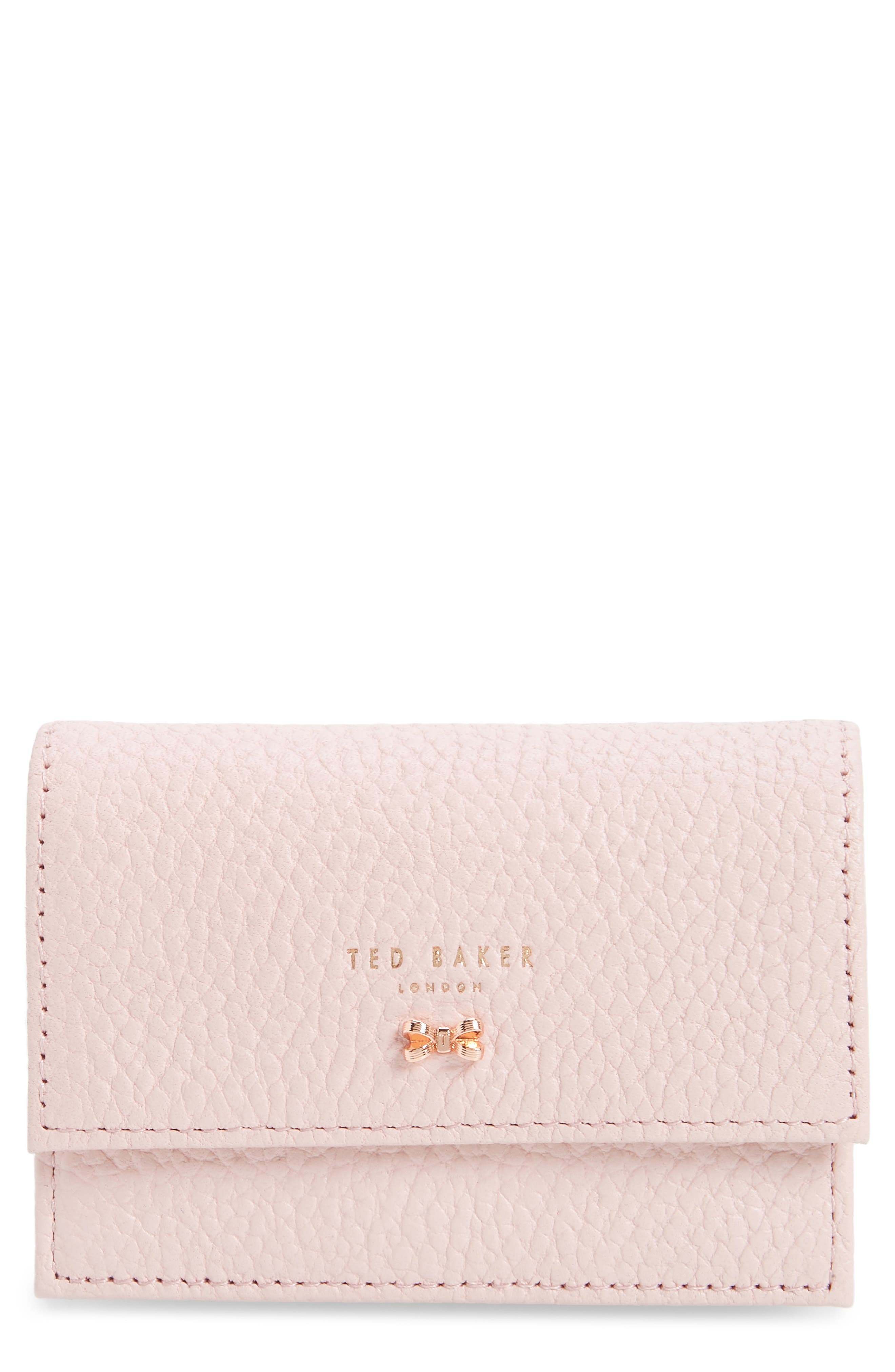 Eves Accordion Leather Card Case,                             Main thumbnail 1, color,                             LIGHT PINK