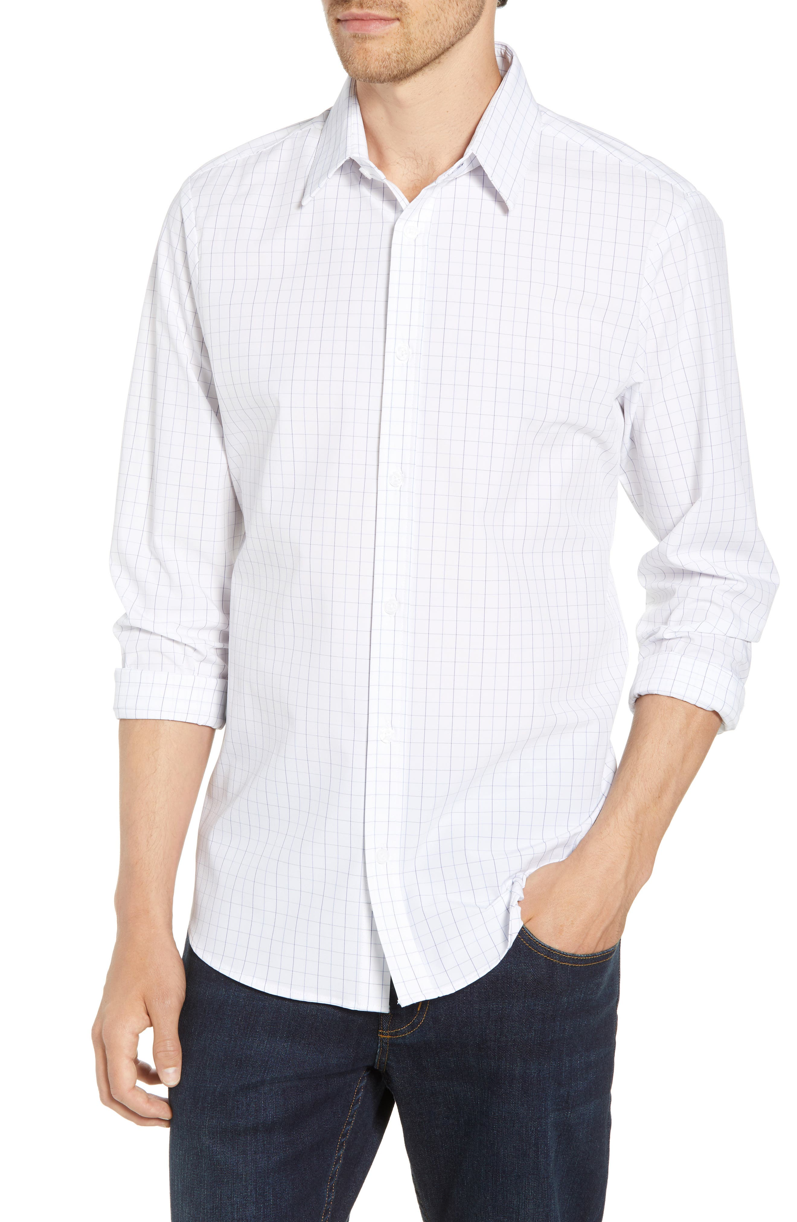 Buckner Slim Fit Grid Performance Sport Shirt,                         Main,                         color, 400