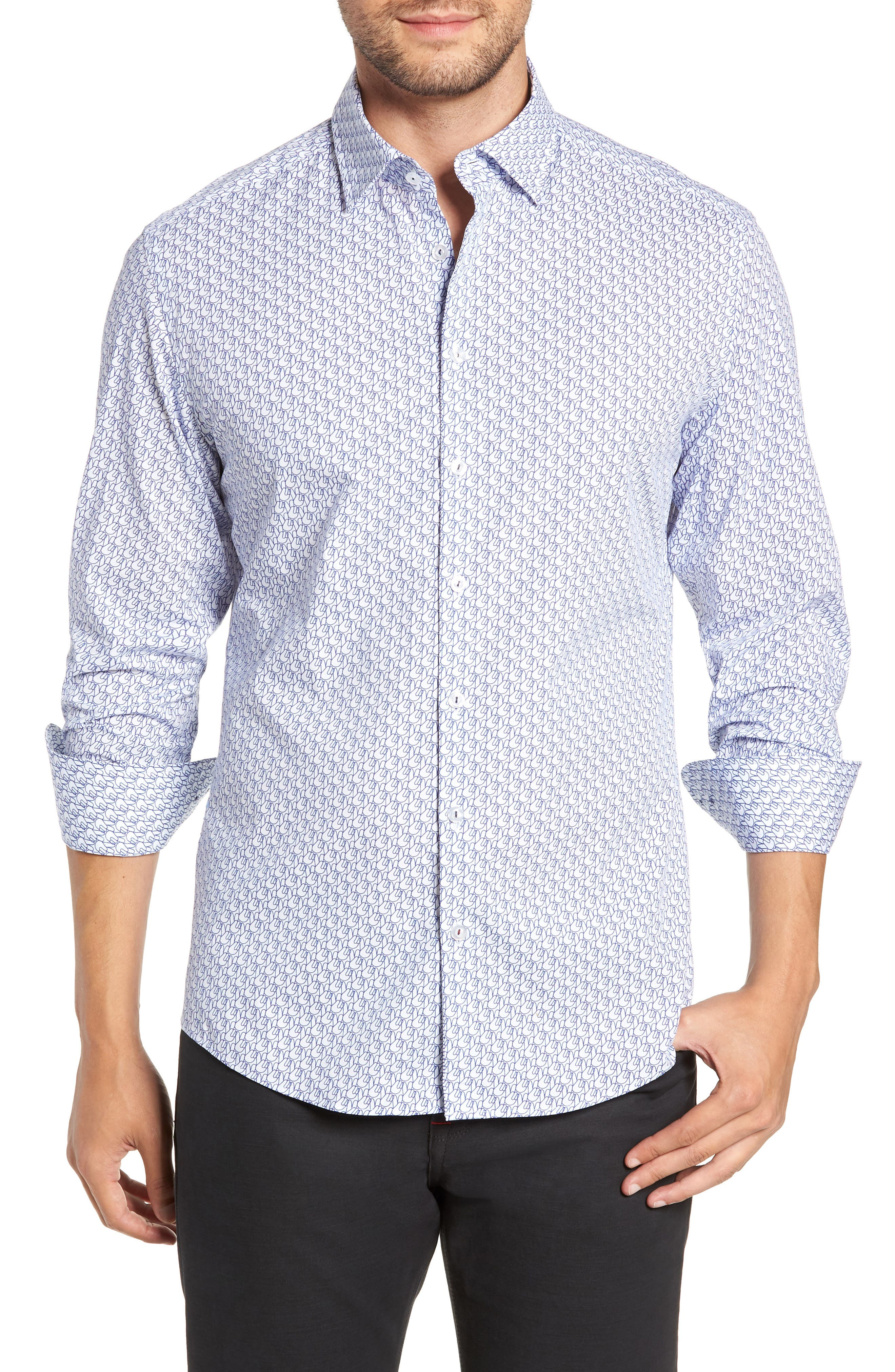 Trim Fit Sport Shirt,                         Main,                         color, WHITE
