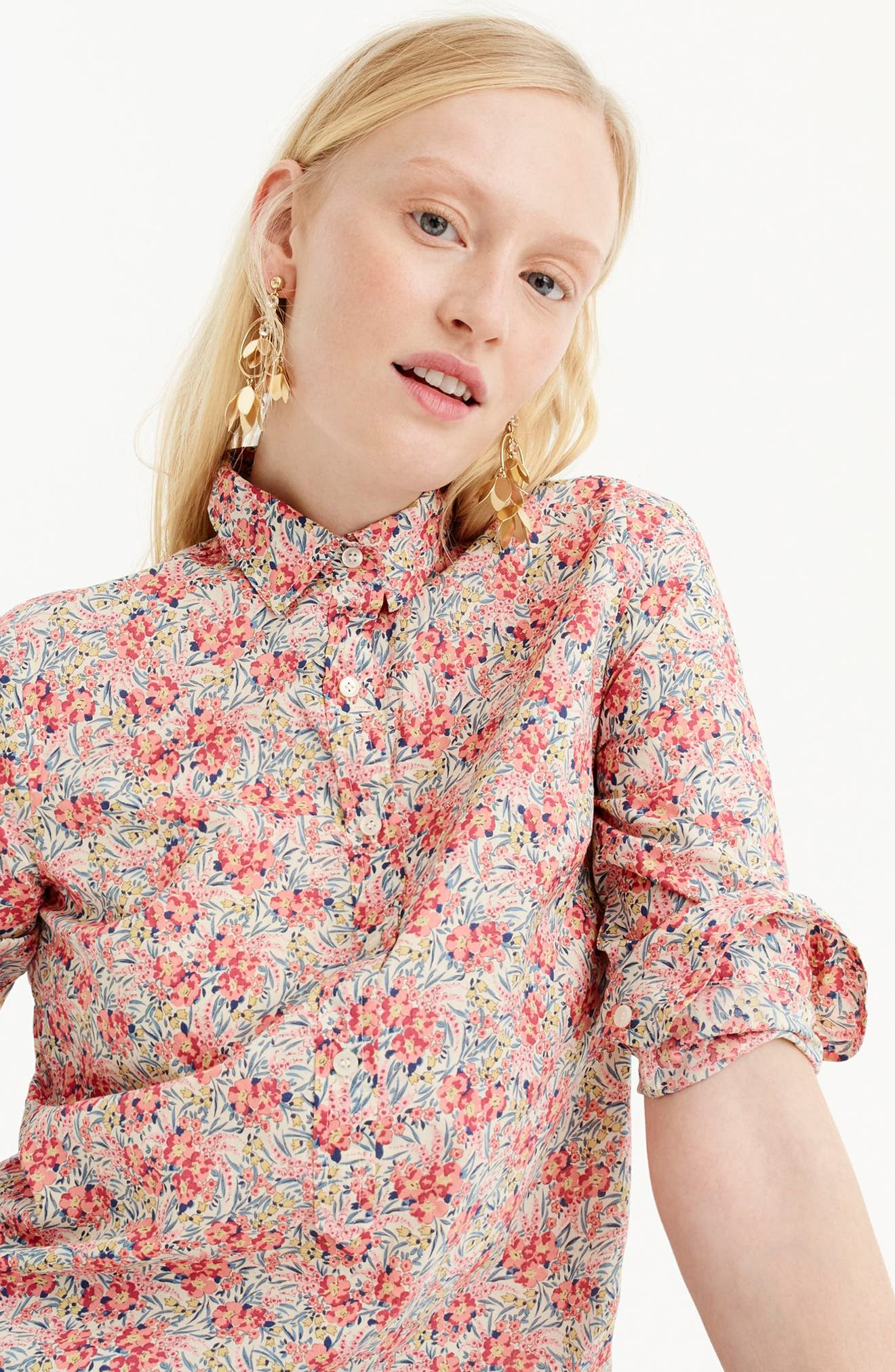 Classic Popover Blouse in Liberty<sup>®</sup> Swirling Petal Print,                             Alternate thumbnail 4, color,                             900