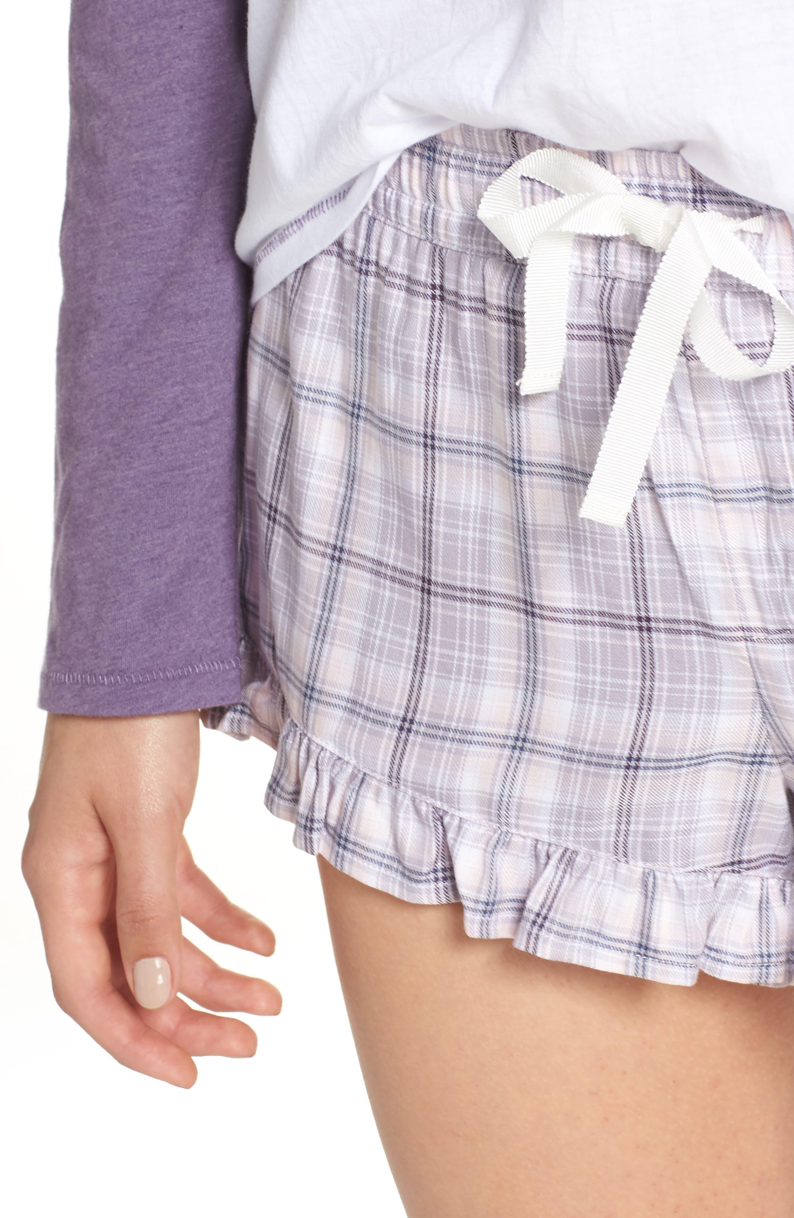 Charly Short Pajamas,                             Alternate thumbnail 4, color,                             LAVENDER AURA PLAID