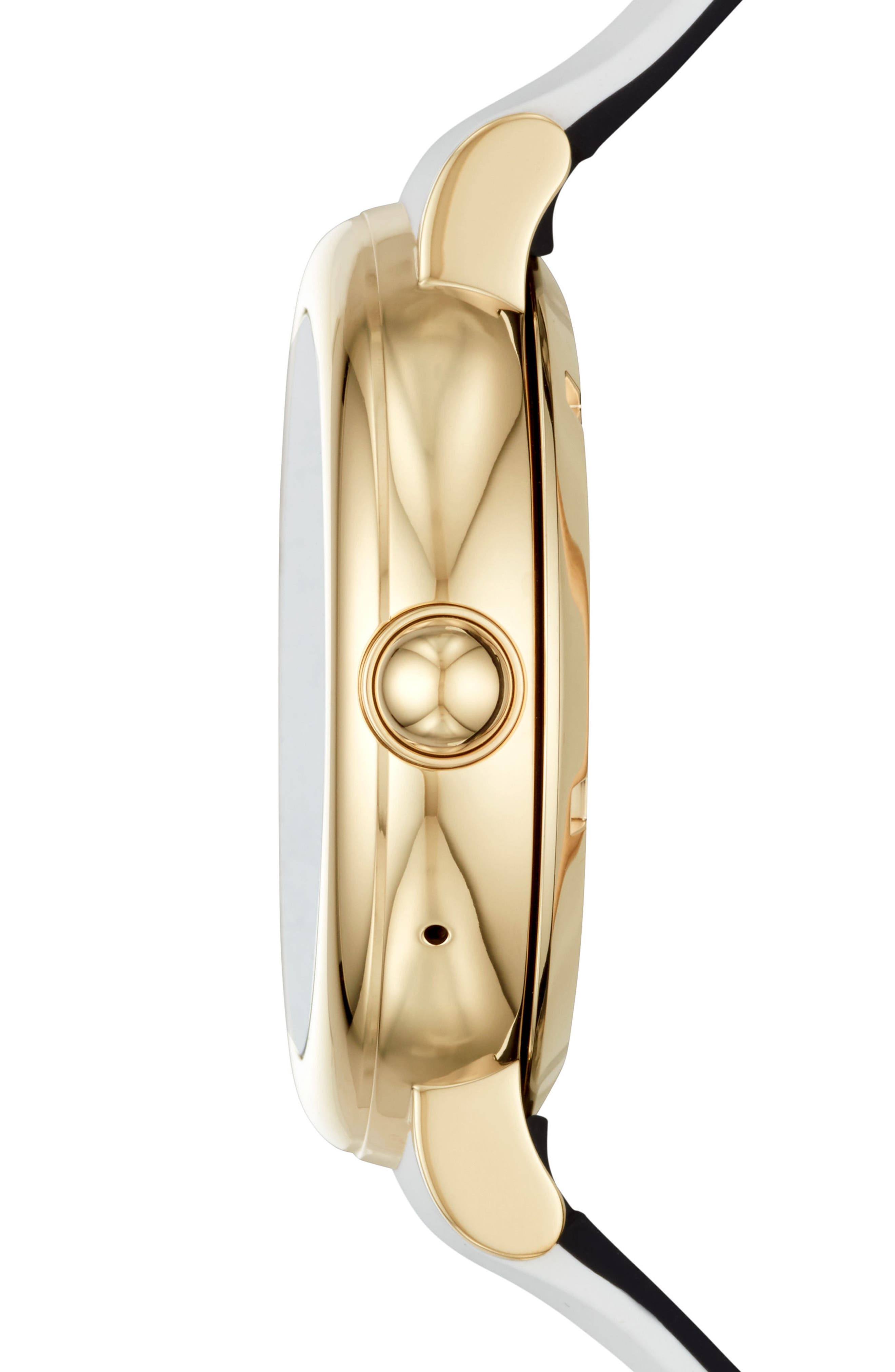 Riley Silcone Strap Smart Watch, 44mm,                             Alternate thumbnail 3, color,                             WHITE/ GOLD