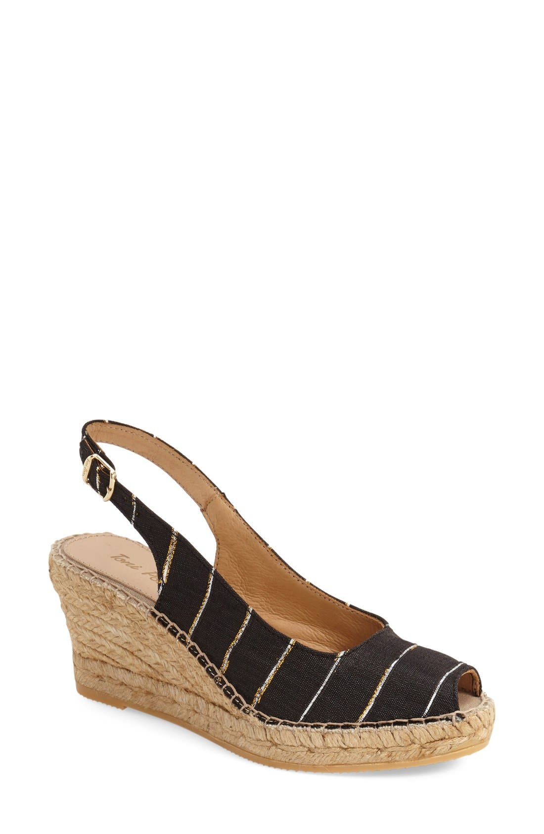 'Carmina' Silk Slingback Wedge Sandal,                             Main thumbnail 1, color,                             BLACK STRIPE