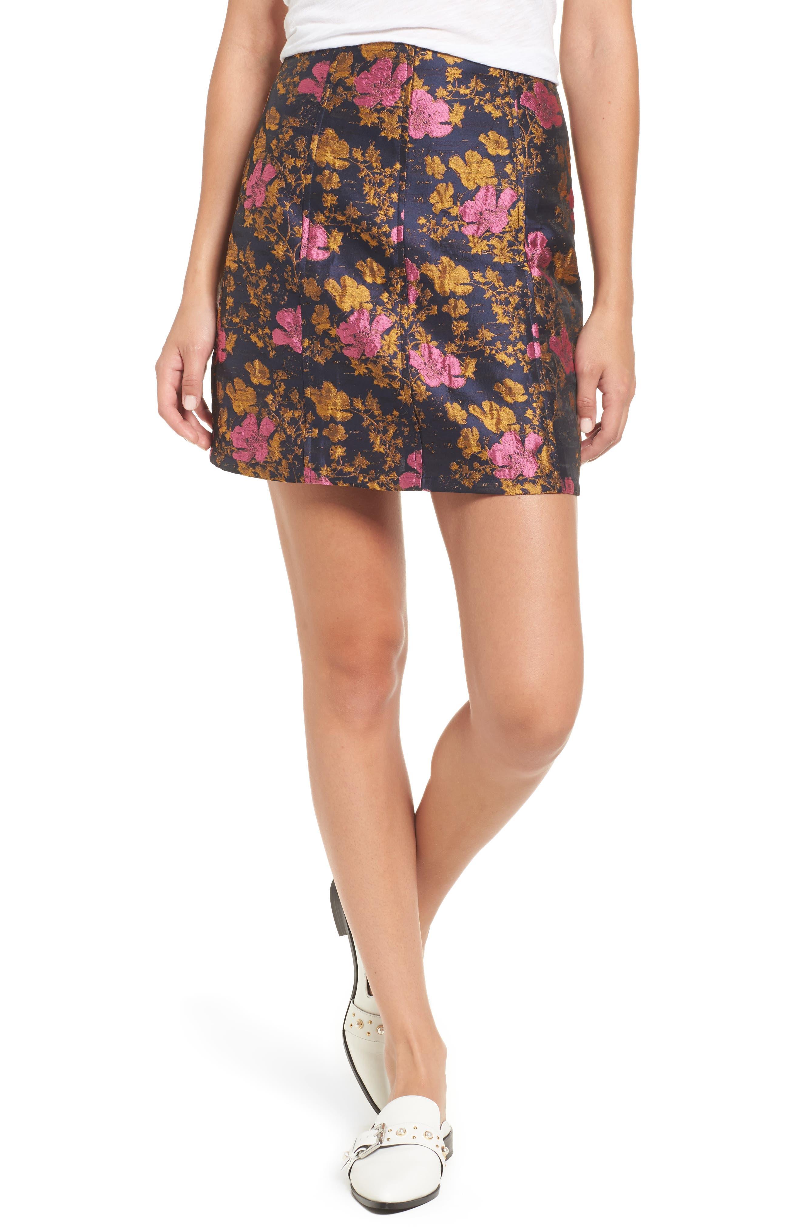 High Waist Floral Print Miniskirt,                             Main thumbnail 1, color,