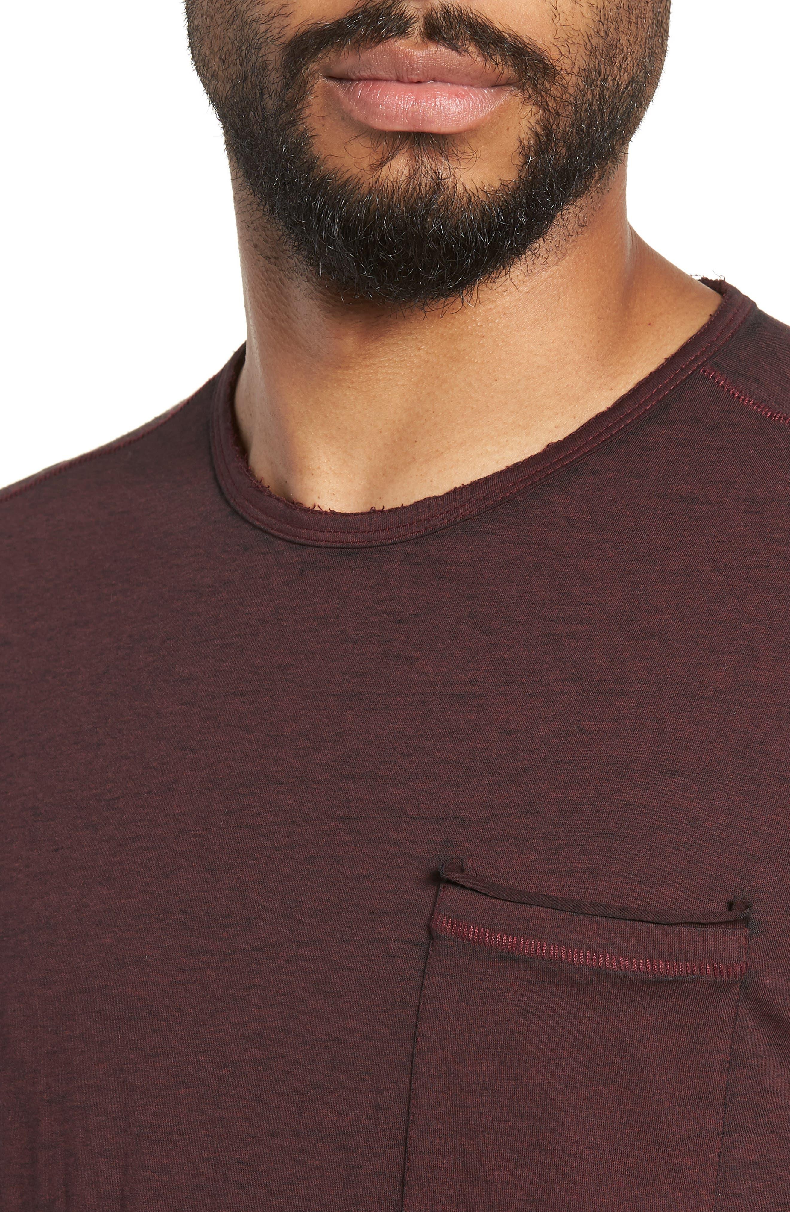 Burnout Long Sleeve T-Shirt,                             Alternate thumbnail 4, color,                             BORDEAUX