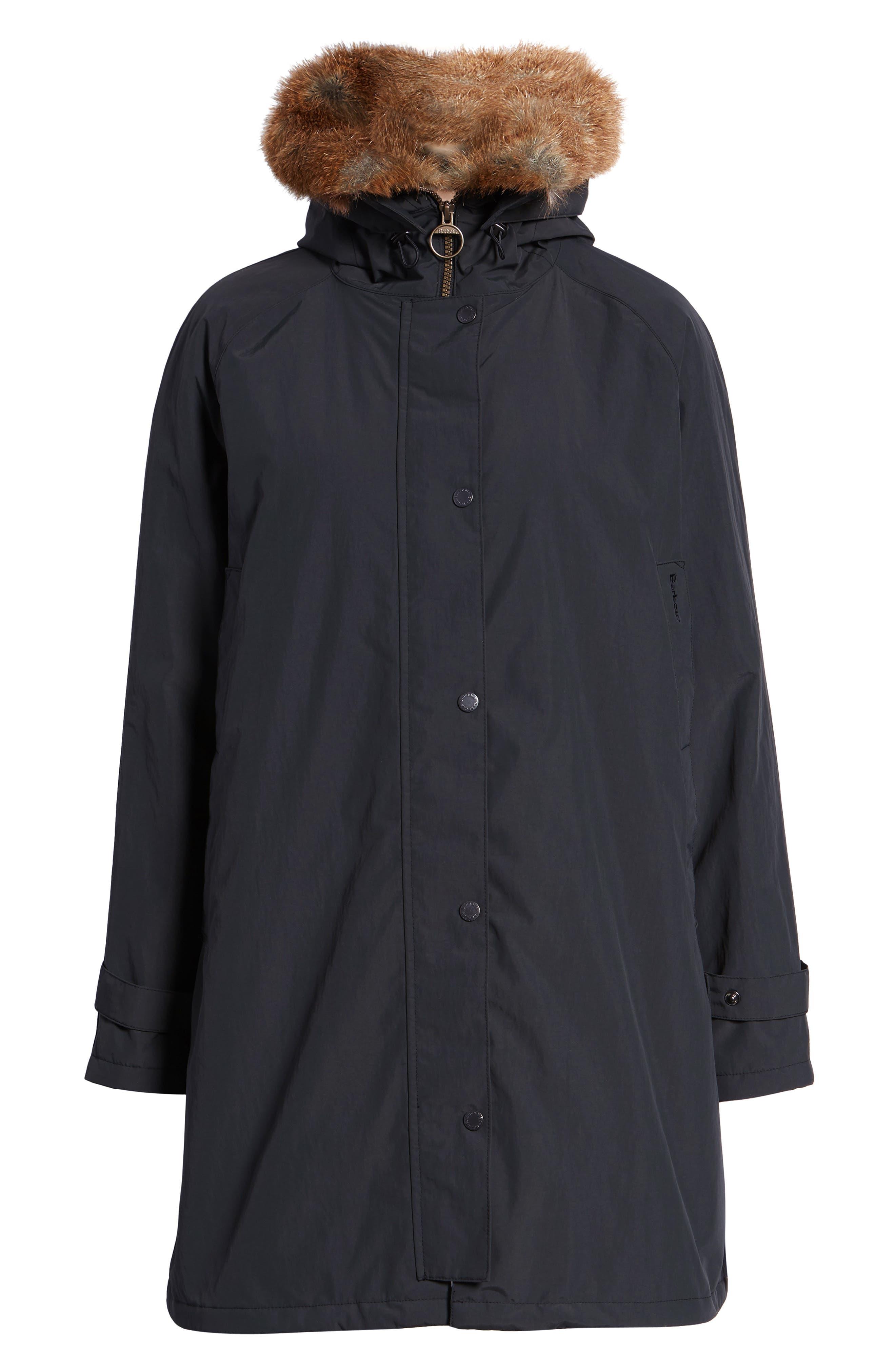 Dexy Jacket with Faux Fur Trim,                             Alternate thumbnail 6, color,                             BLACK