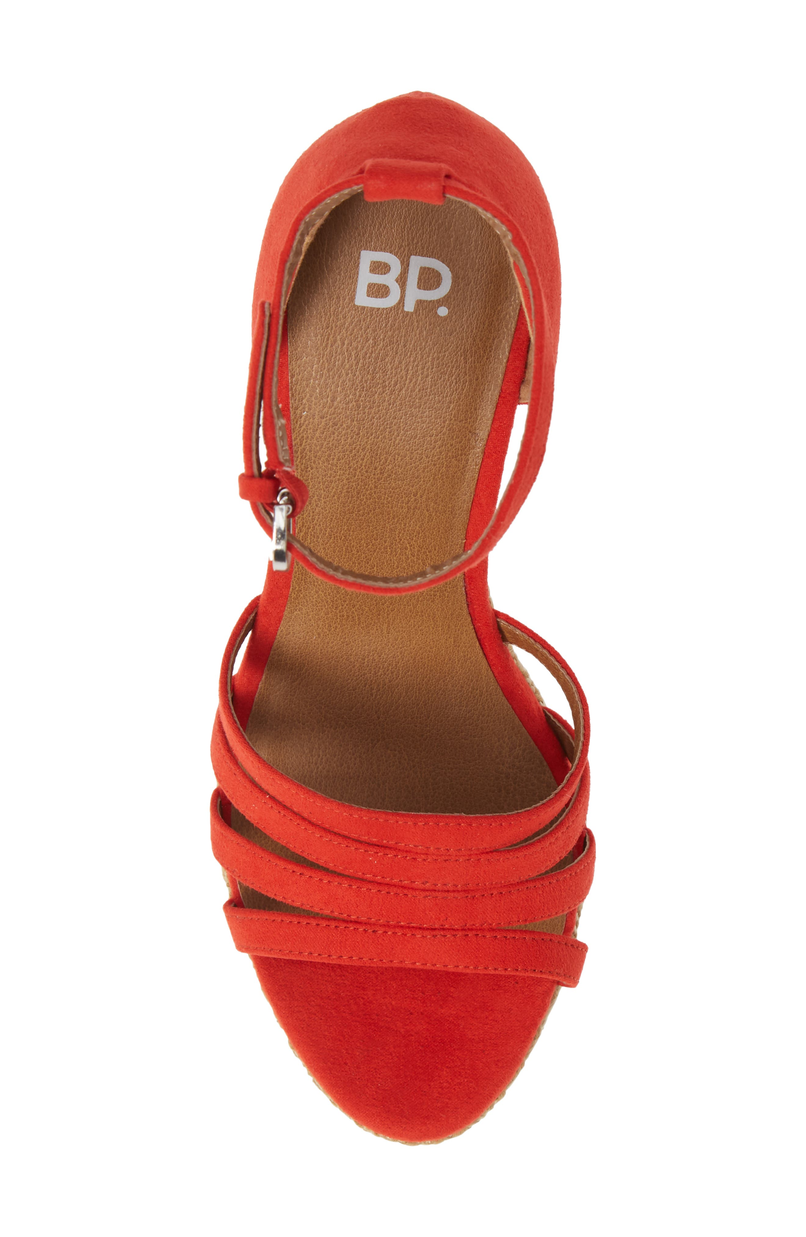 Scarlette Wedge Sandal,                             Alternate thumbnail 5, color,                             RED FAUX SUEDE