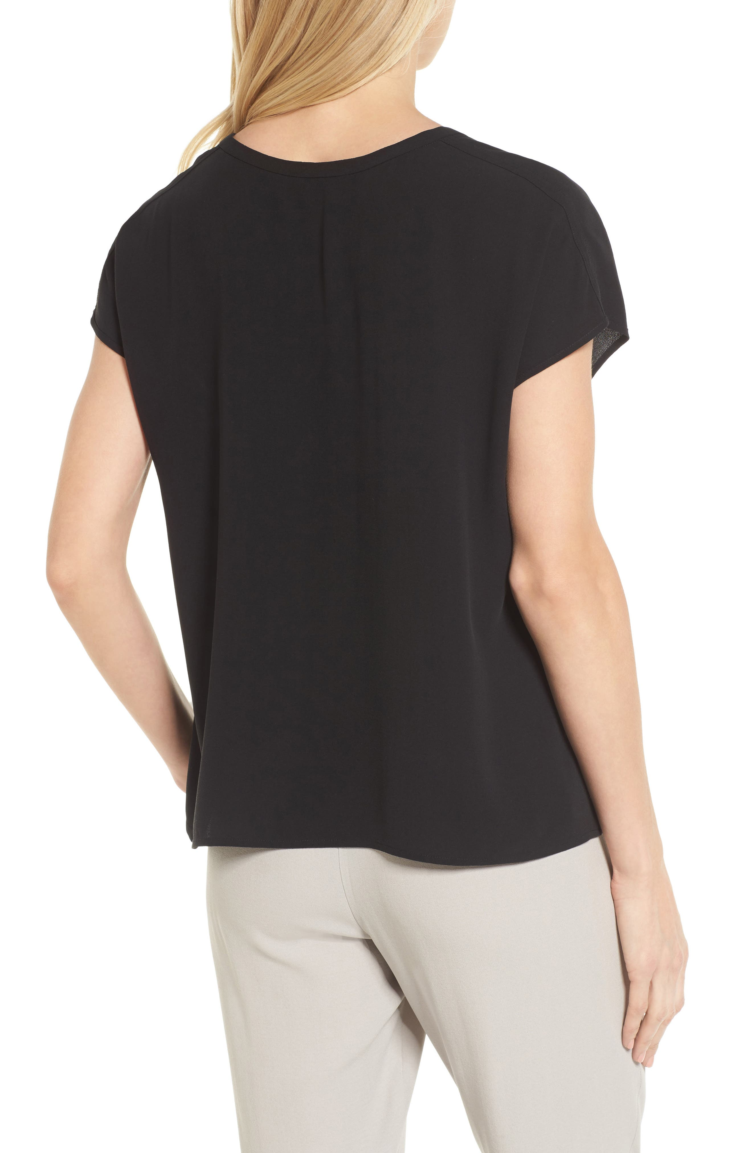 Split Neck Silk Shirt,                             Alternate thumbnail 4, color,