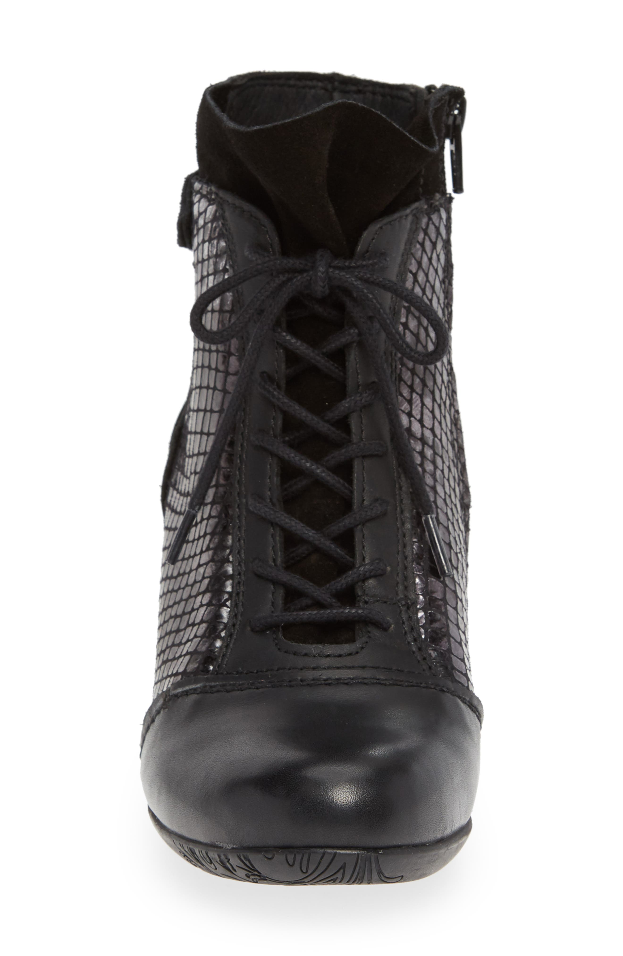 'Jesse' Lace-Up Bootie,                             Alternate thumbnail 4, color,                             BLACK TAIPAN LEATHER