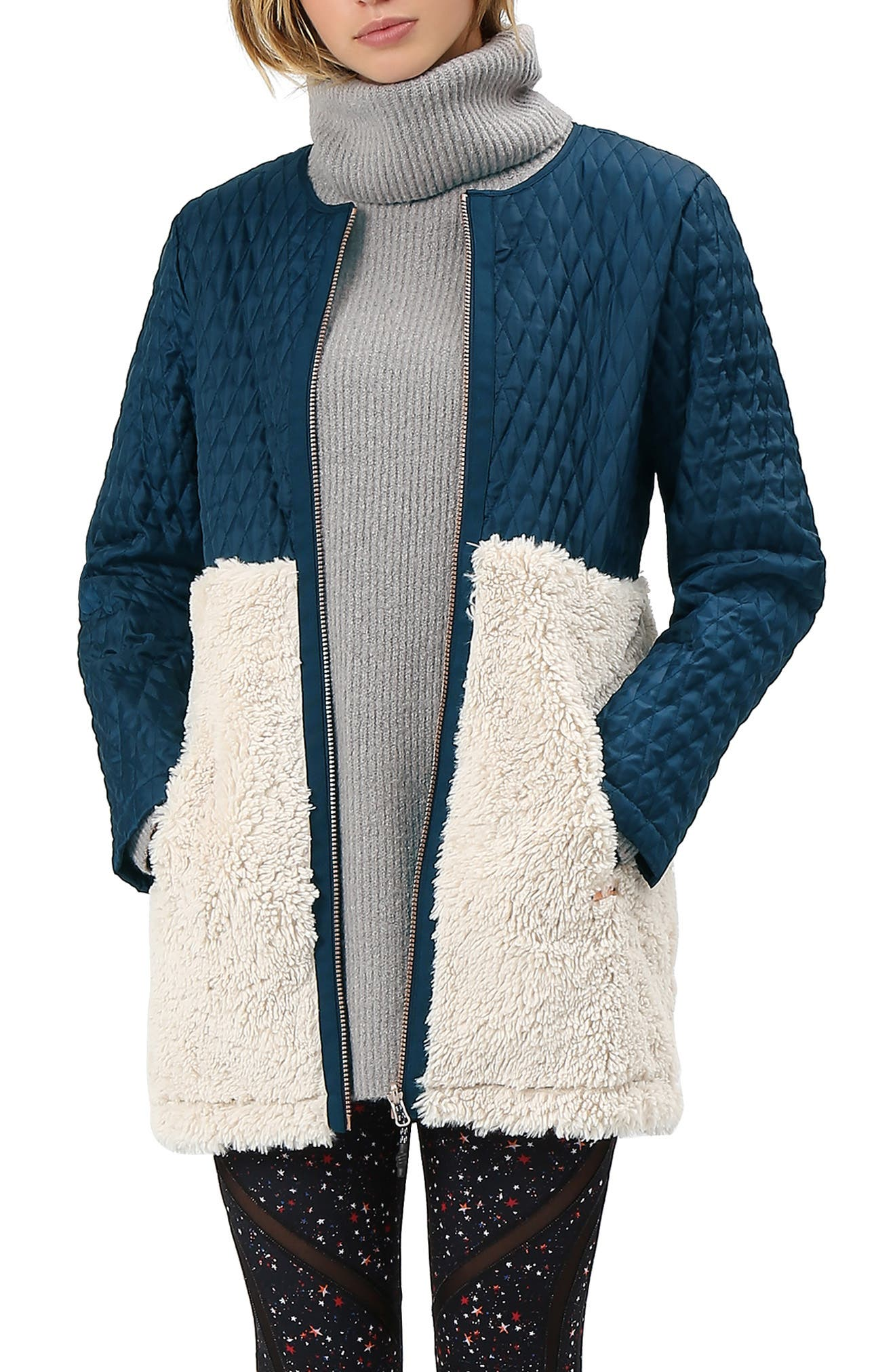 Highlands Three-In-One Faux Fur & Faux Shearling Coat,                             Alternate thumbnail 2, color,                             BEETLE BLUE