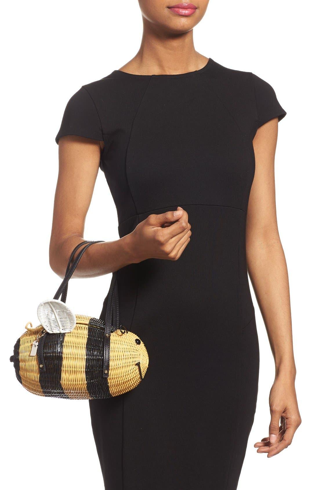 'bee' wicker handbag,                             Alternate thumbnail 2, color,                             250
