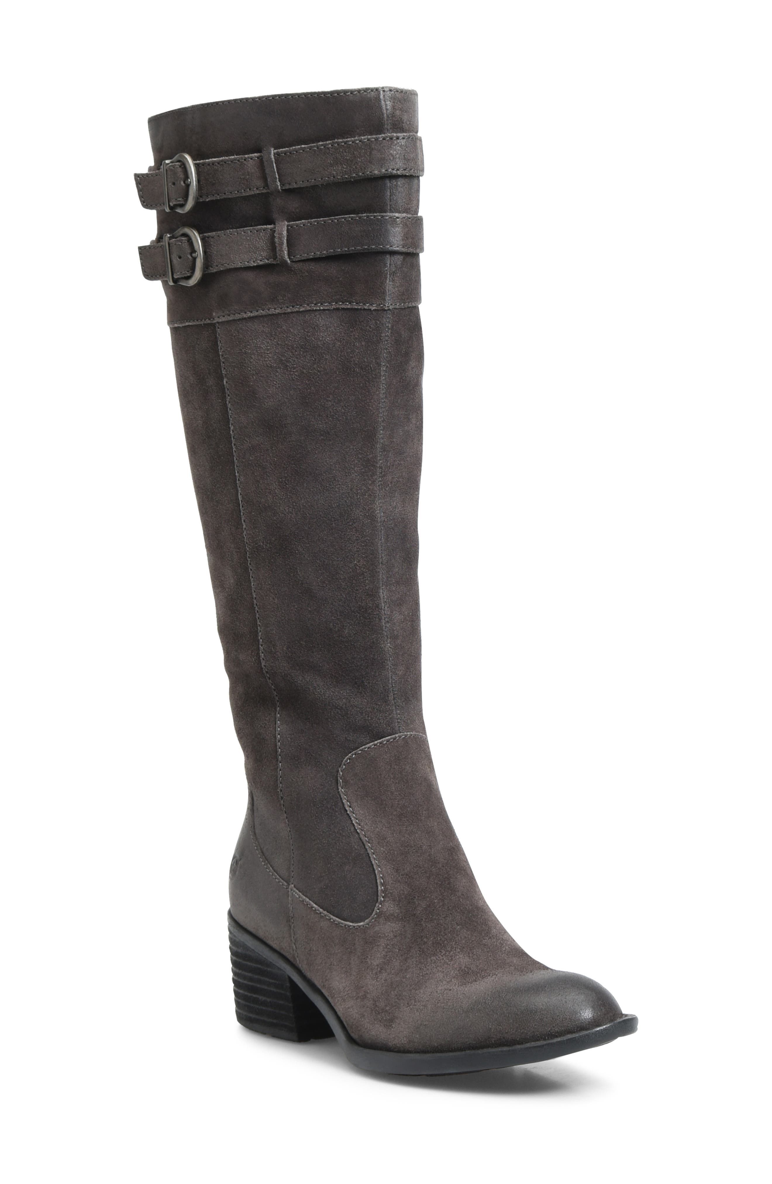 B?rn Tay Block Heel Knee High Boot- Grey