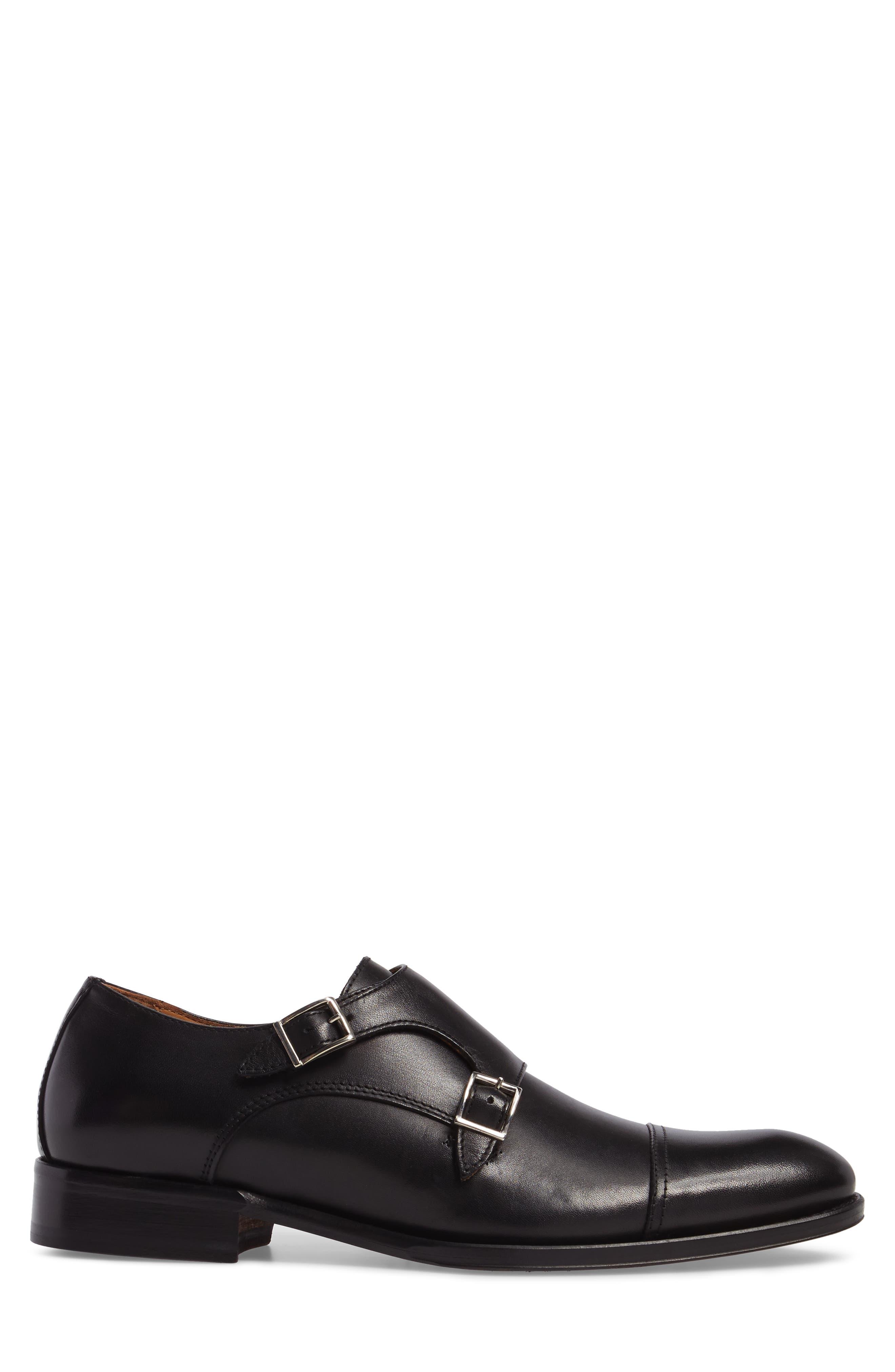Stratton Double Monk Strap Shoe,                             Alternate thumbnail 3, color,                             001
