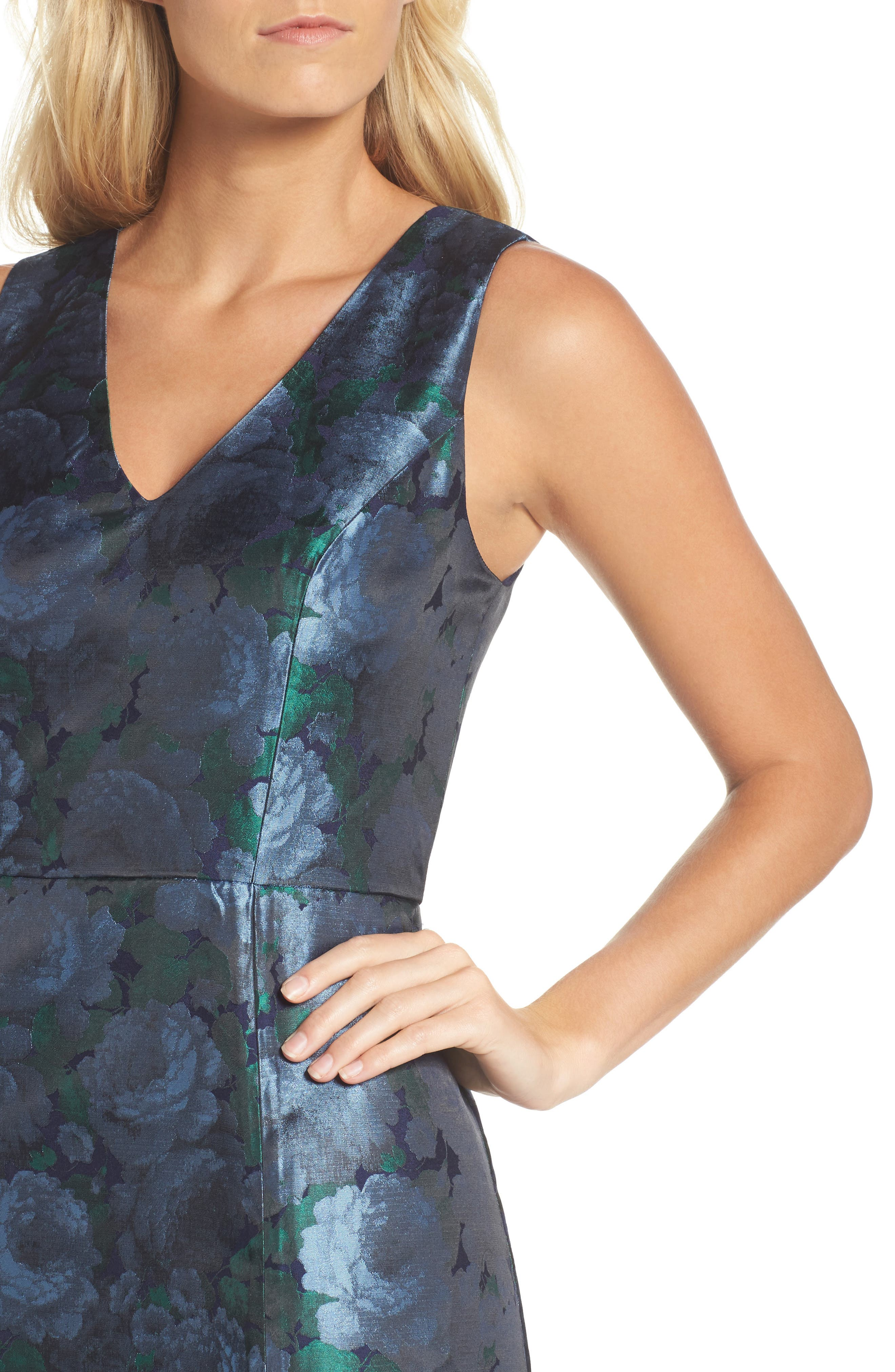 Brocade High/Low Dress,                             Alternate thumbnail 4, color,                             480