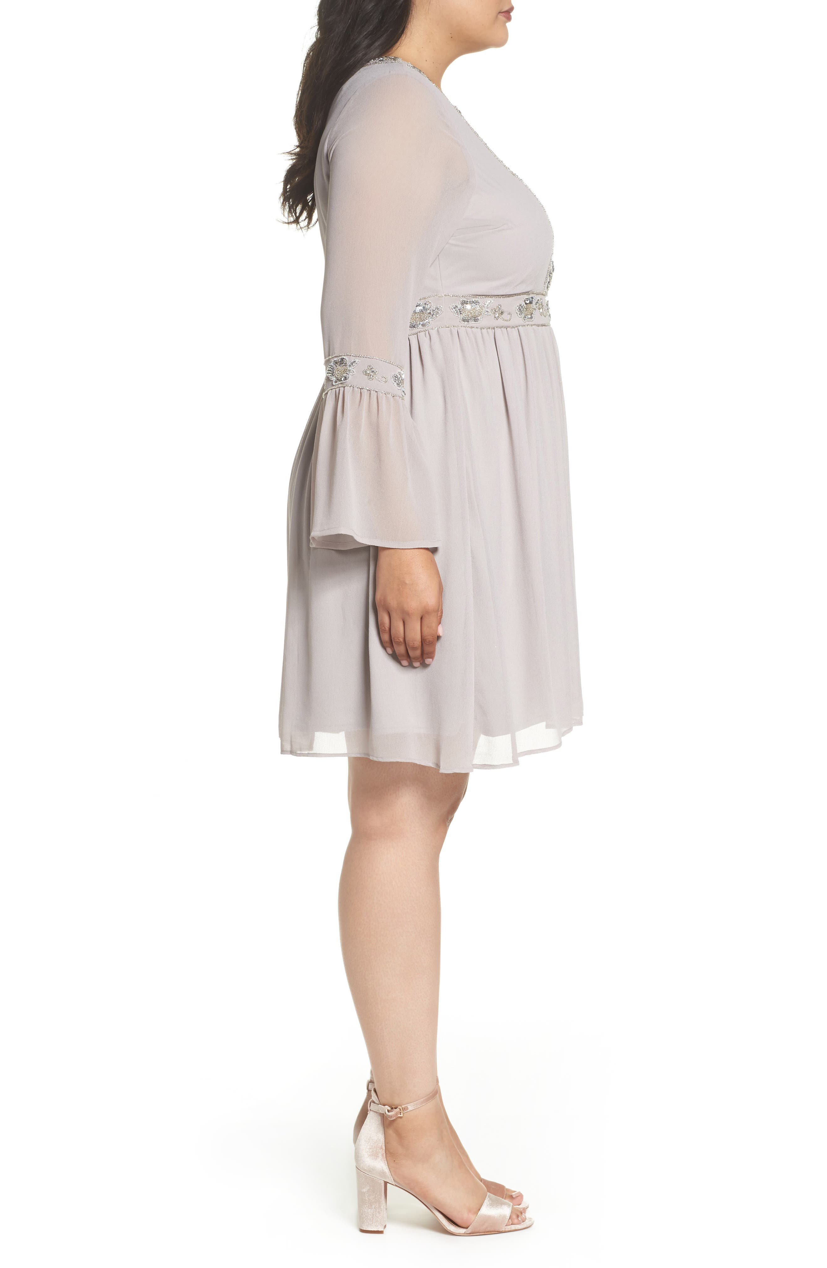 Embellished Chiffon A-Line Dress,                             Alternate thumbnail 3, color,