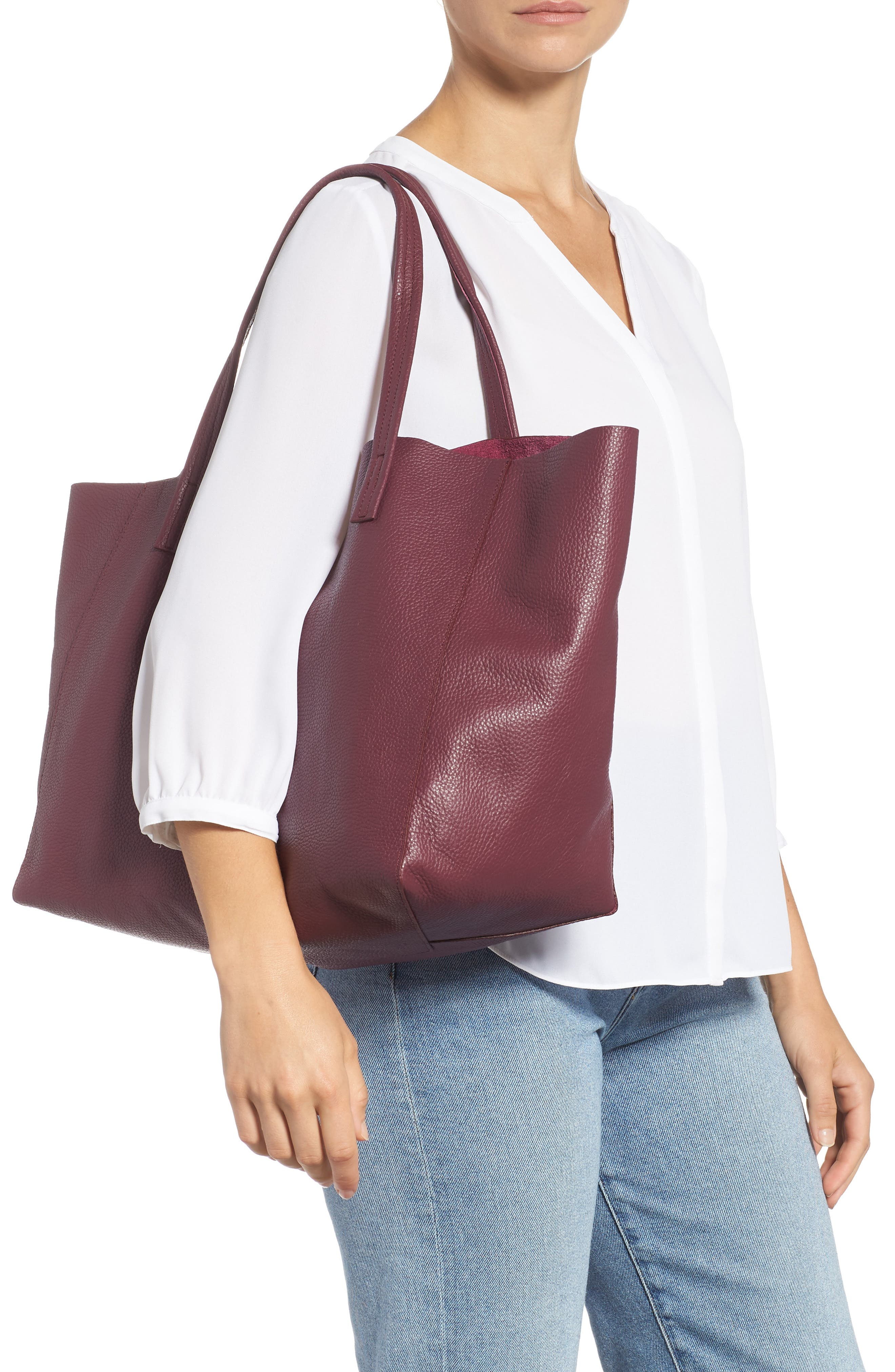 Violet Leather Tote,                             Alternate thumbnail 2, color,                             RED/ OTHER