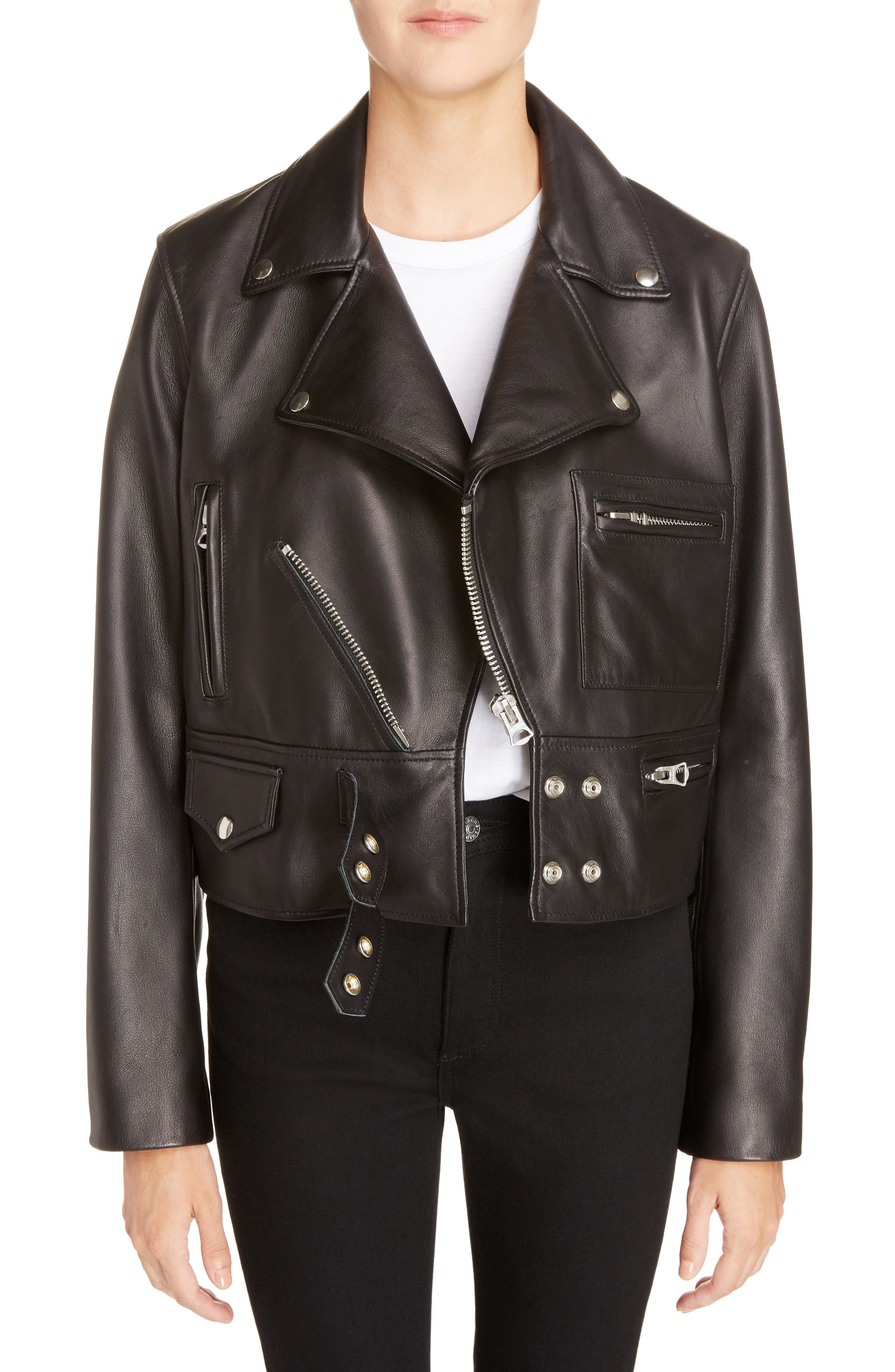 Suokki Leather Moto Jacket,                             Main thumbnail 1, color,                             001
