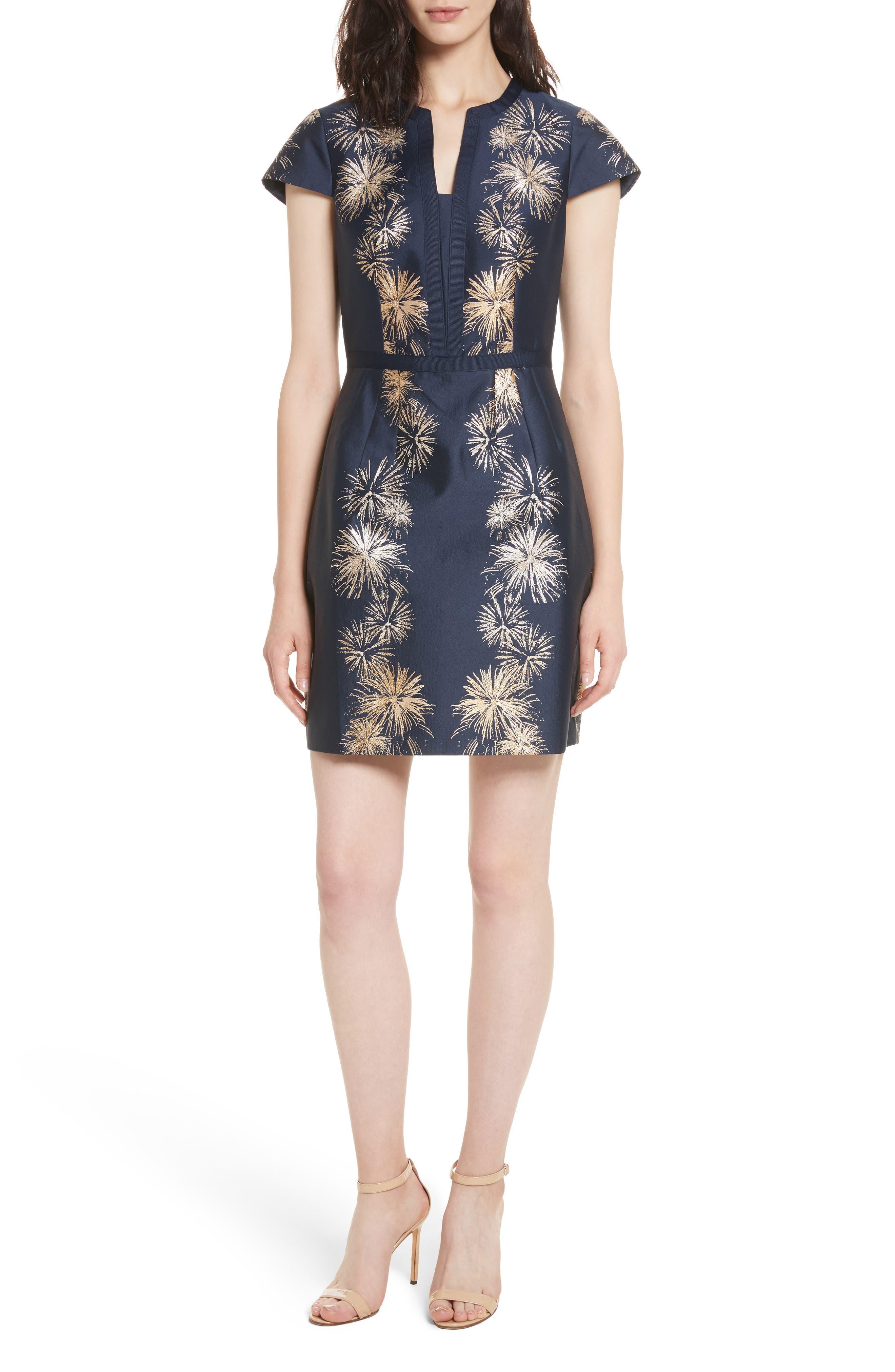 Tzalla Sculpted Stardust Jacquard Dress,                             Main thumbnail 1, color,                             402