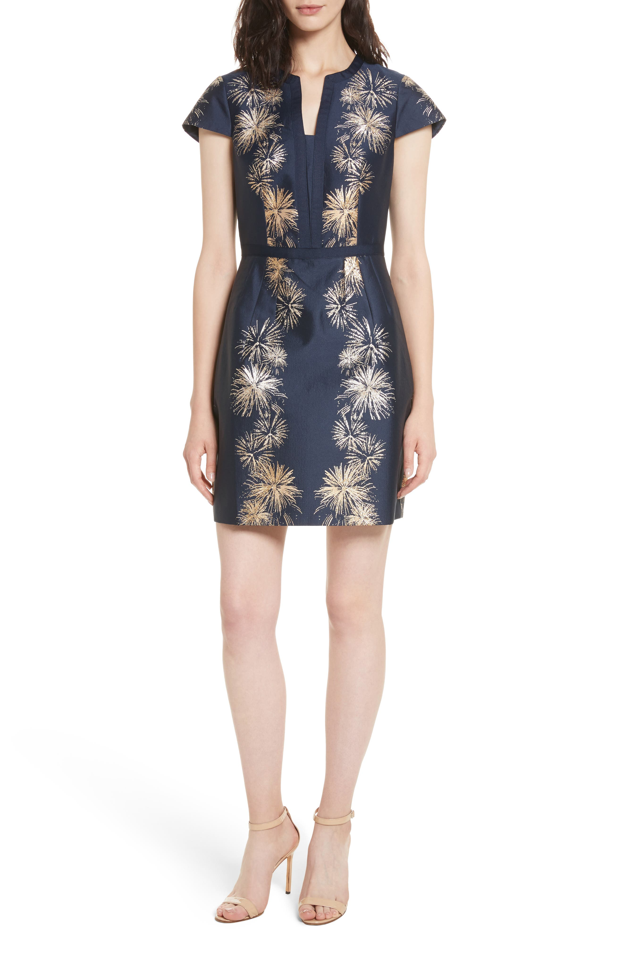Tzalla Sculpted Stardust Jacquard Dress,                         Main,                         color, 402