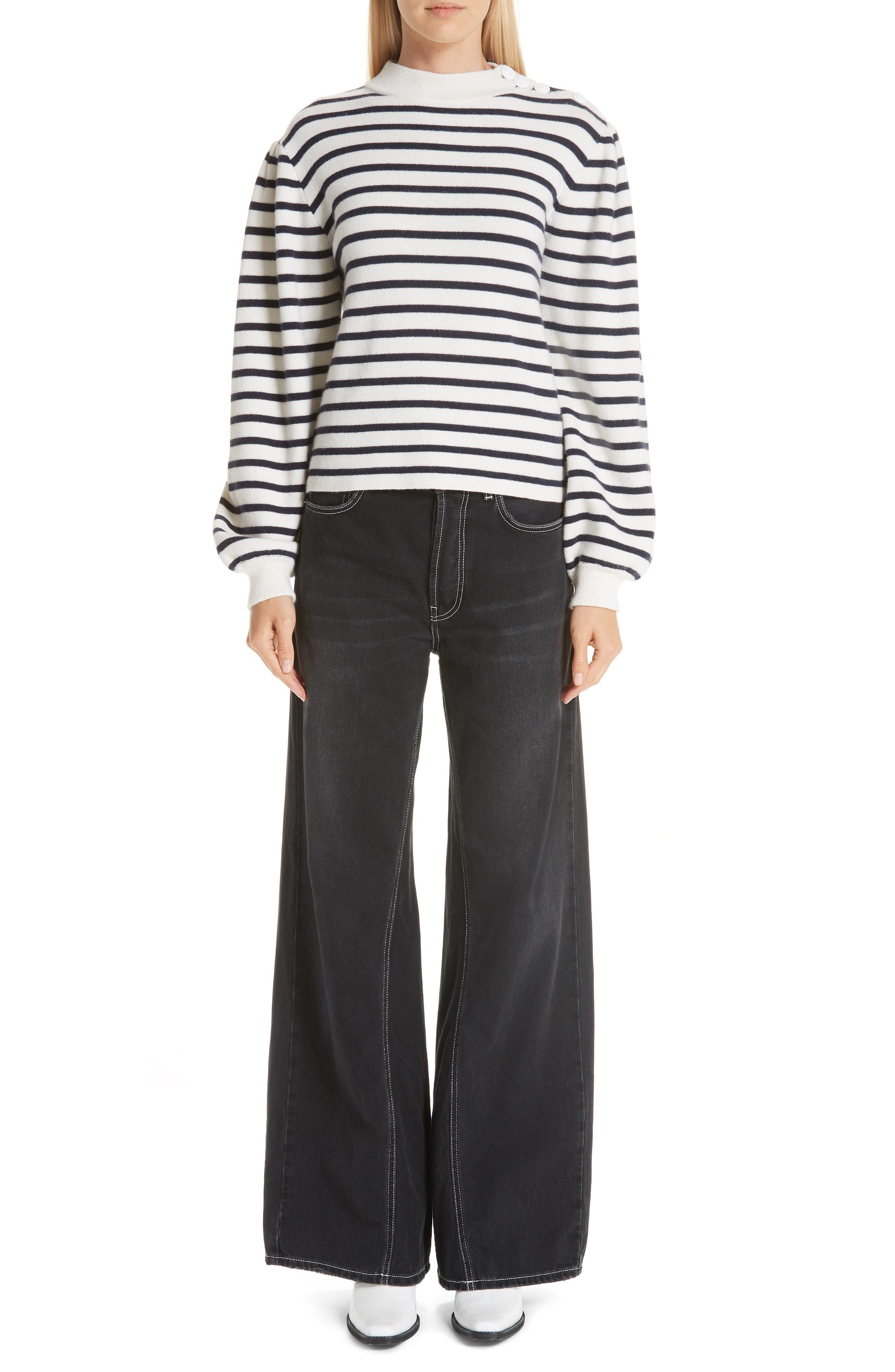 Stripe Knit Sweater,                             Alternate thumbnail 7, color,                             EGRET 135