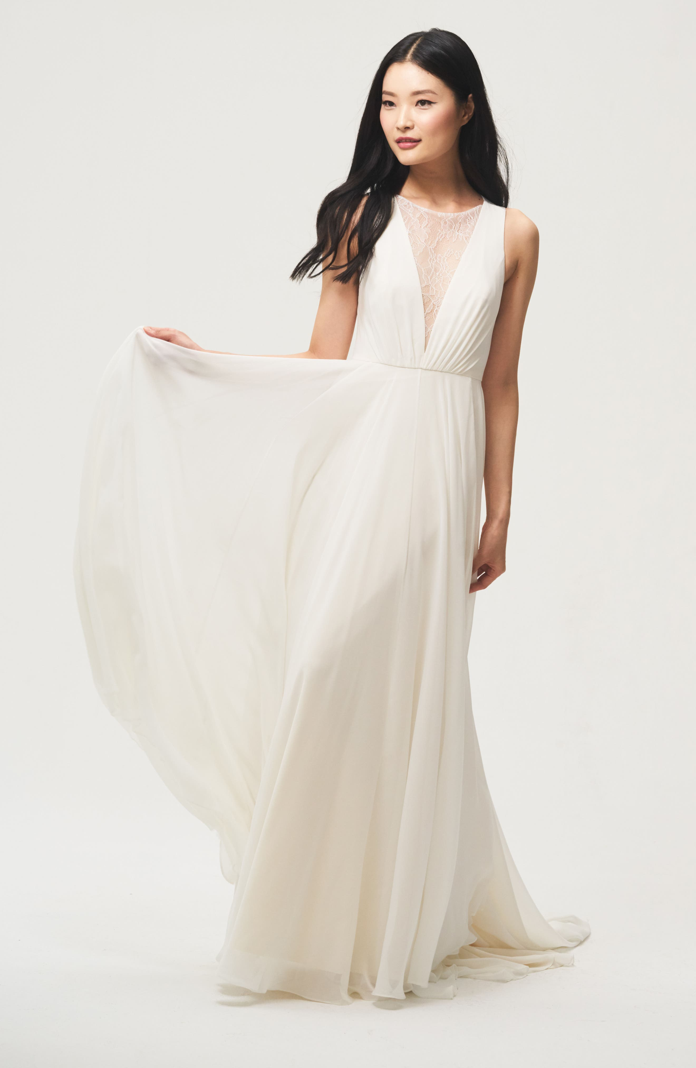 Fallon Lace & Chiffon A-Line Gown,                             Alternate thumbnail 4, color,                             IVORY