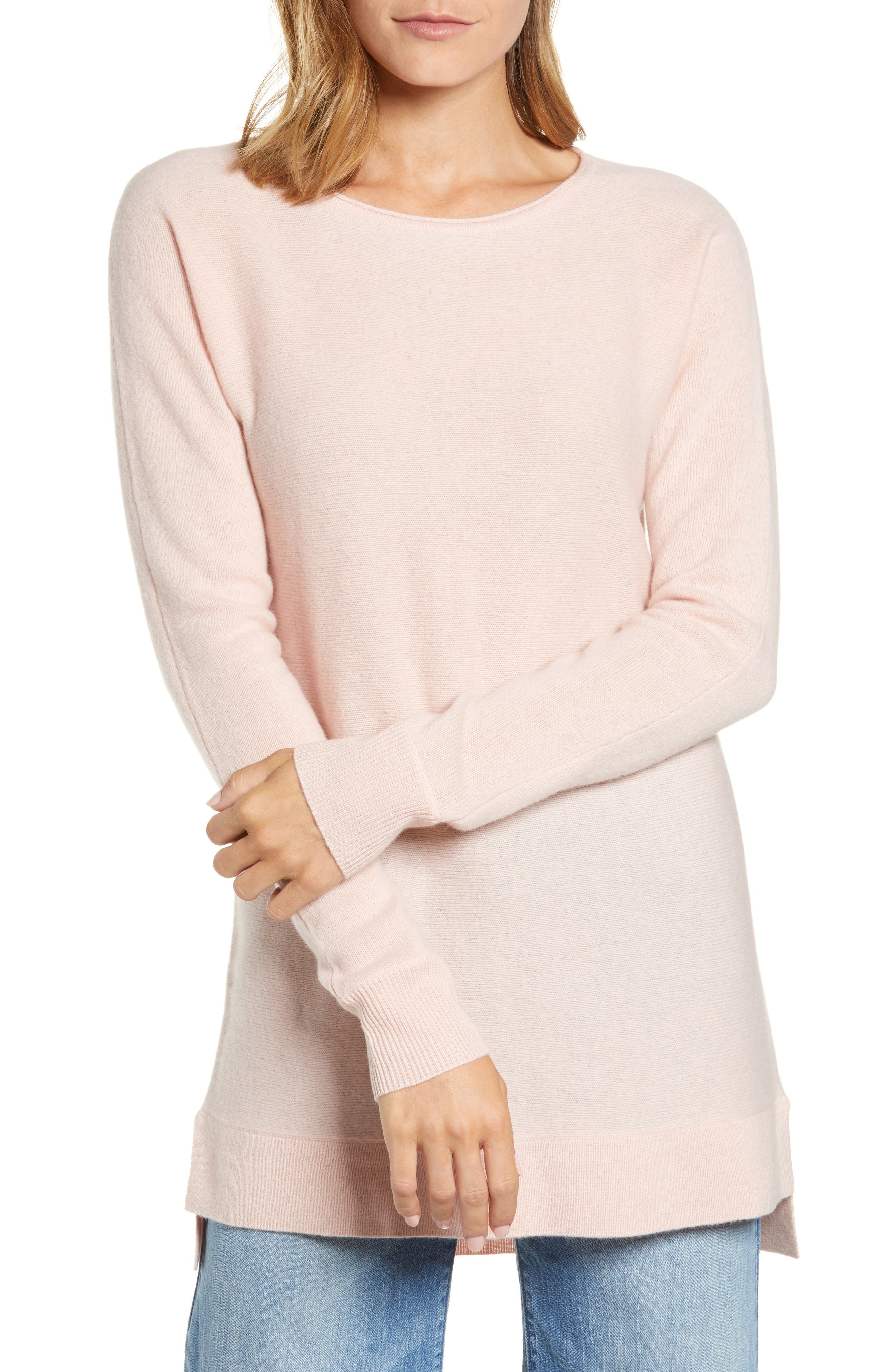 High/Low Wool & Cashmere Tunic Sweater,                             Main thumbnail 16, color,