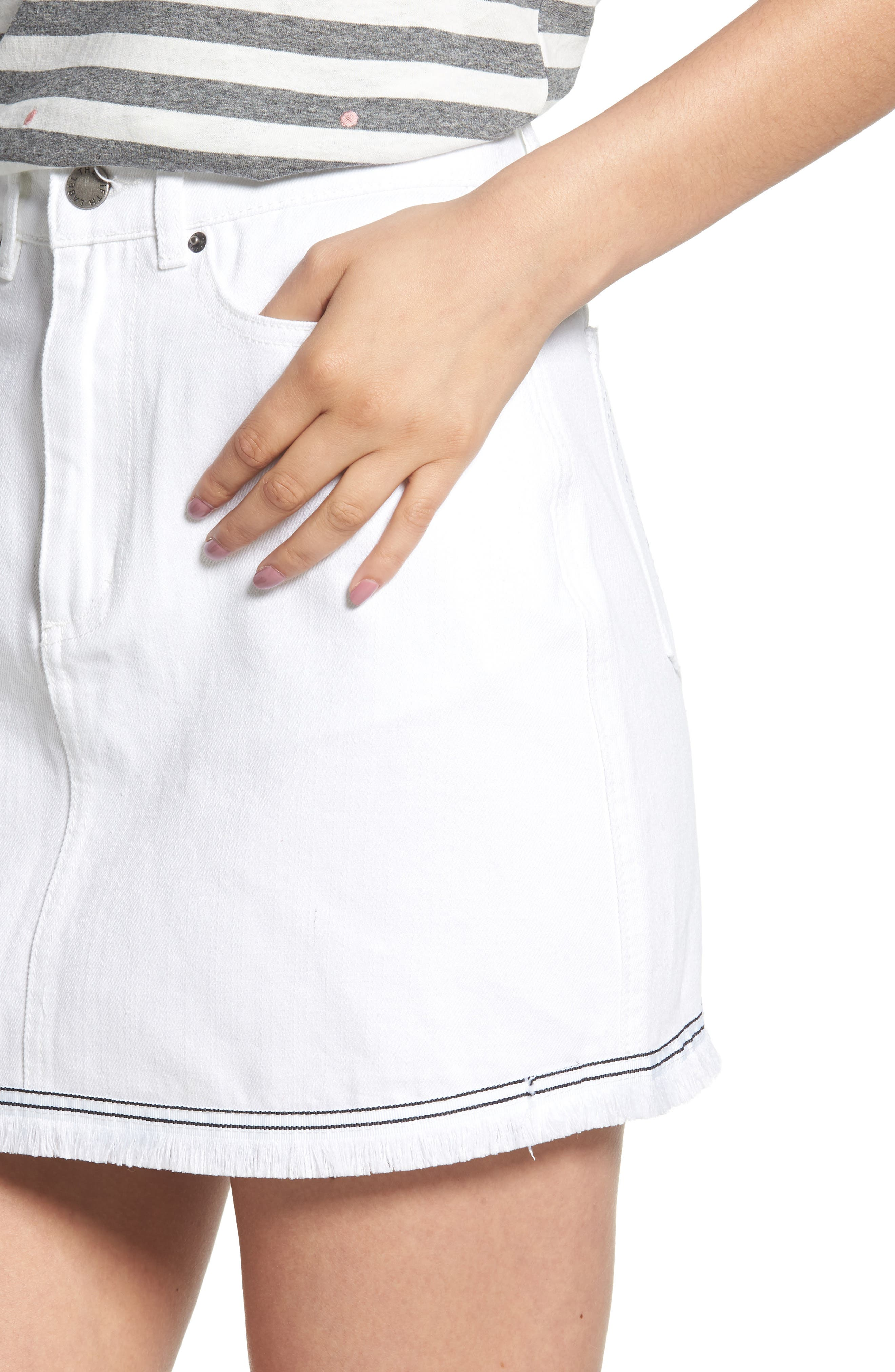 THE FIFTH LABEL,                             Social Fray Hem Denim Miniskirt,                             Alternate thumbnail 4, color,                             100